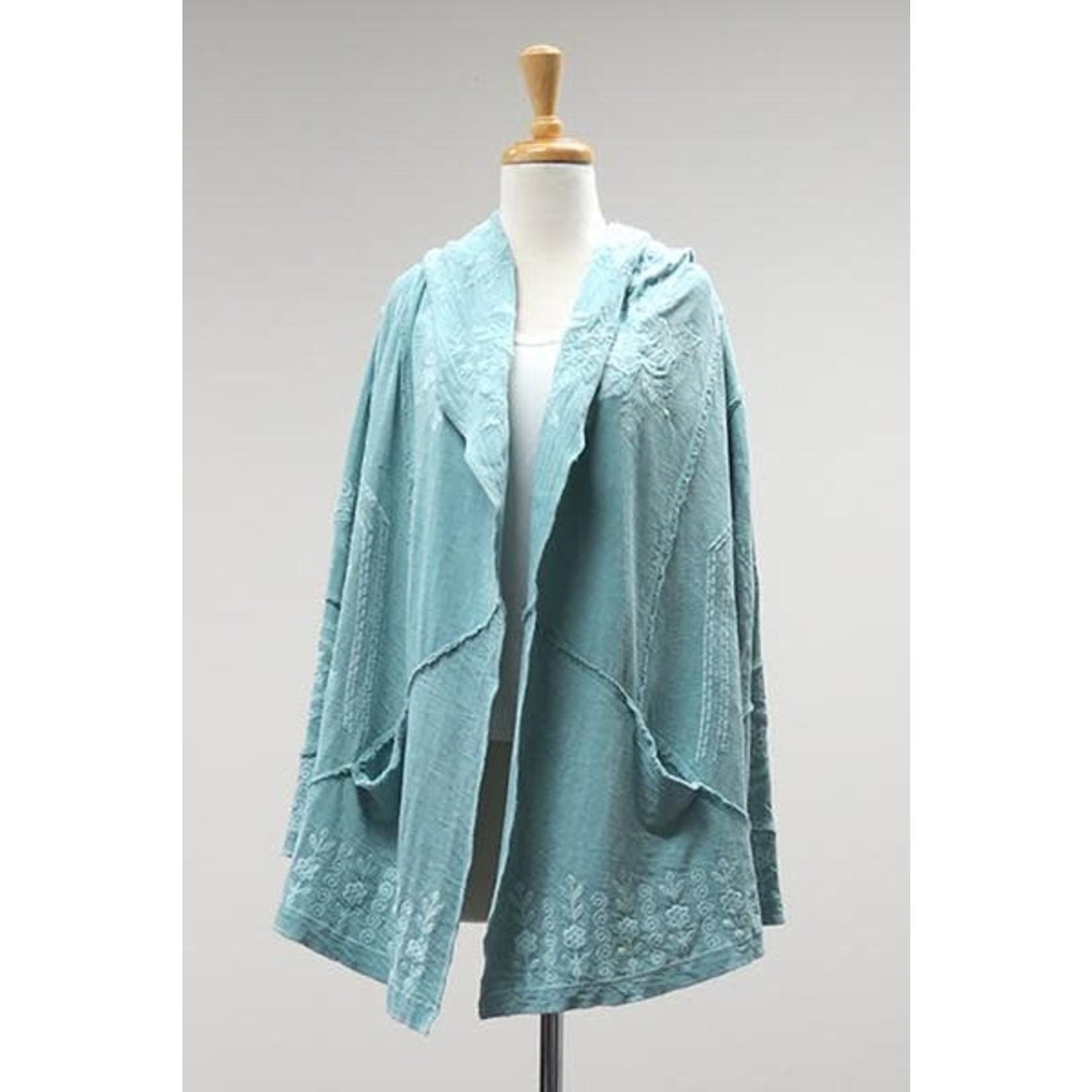 Caite Faded Aqua Embroidered Hooded Cardigan