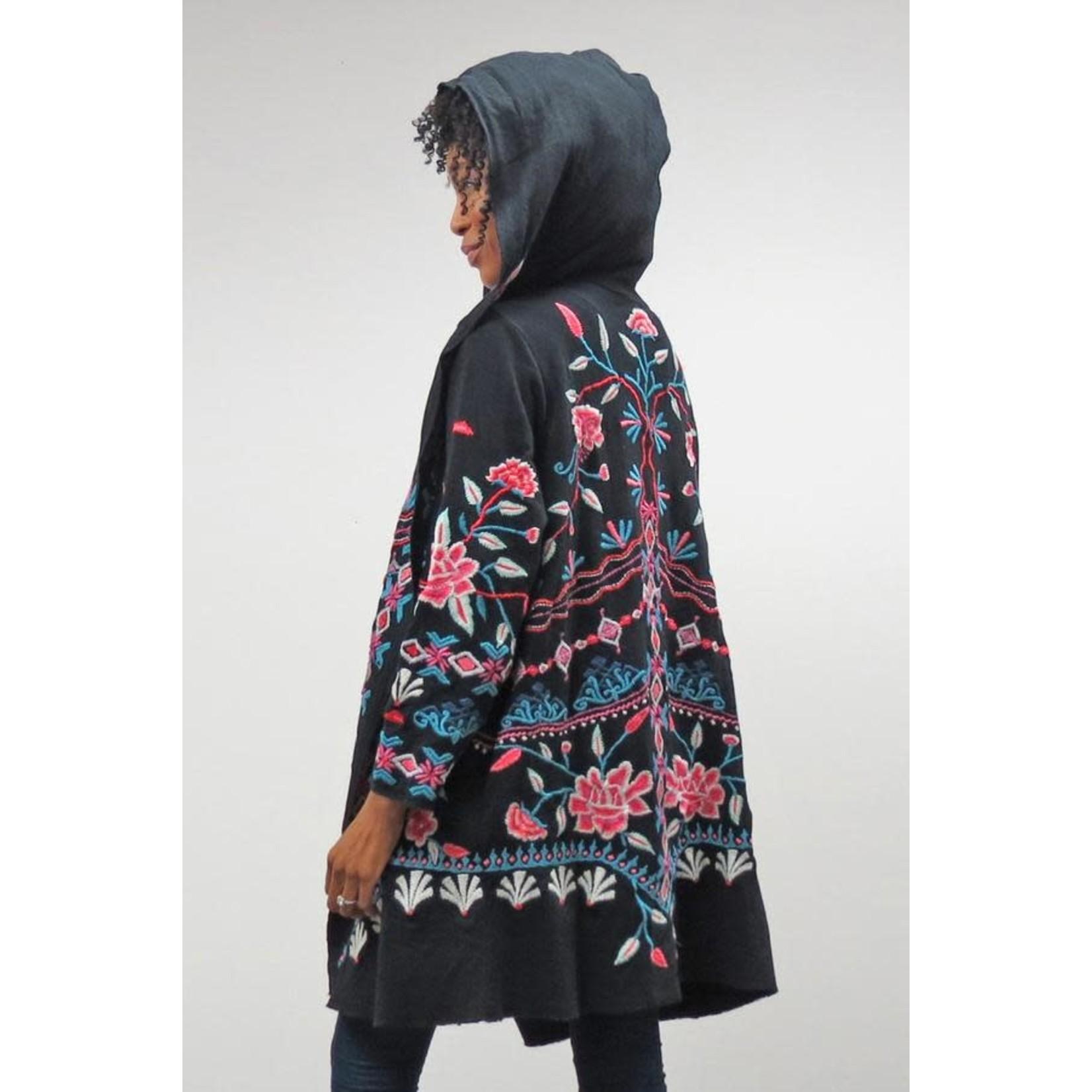 Caite Billie Hooded Cardigan w/ Indian Floral Design