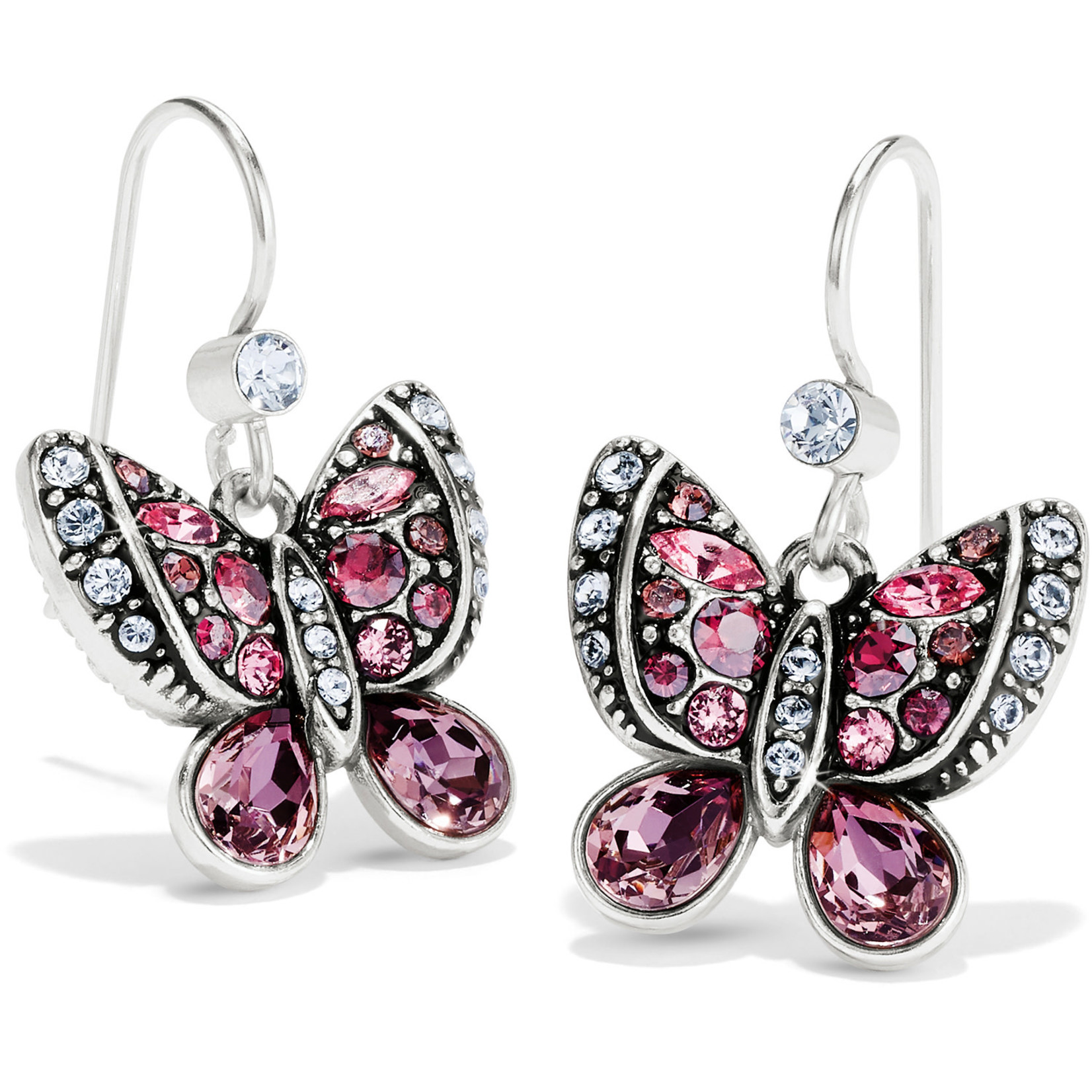 Brighton Trust Your Journey Butterflies French Wire Earrings Silver-Rose