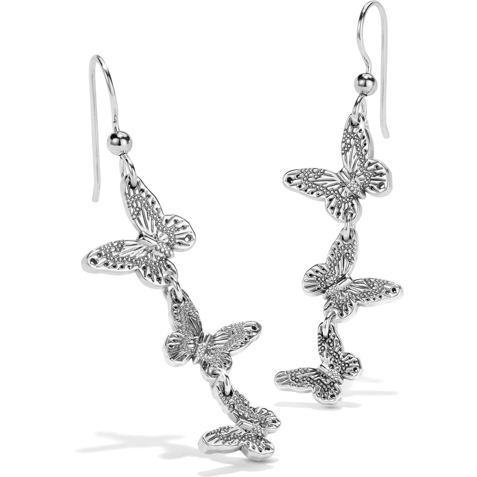 Brighton Solstice Bloom Butterfly French Wire Earrings Silver