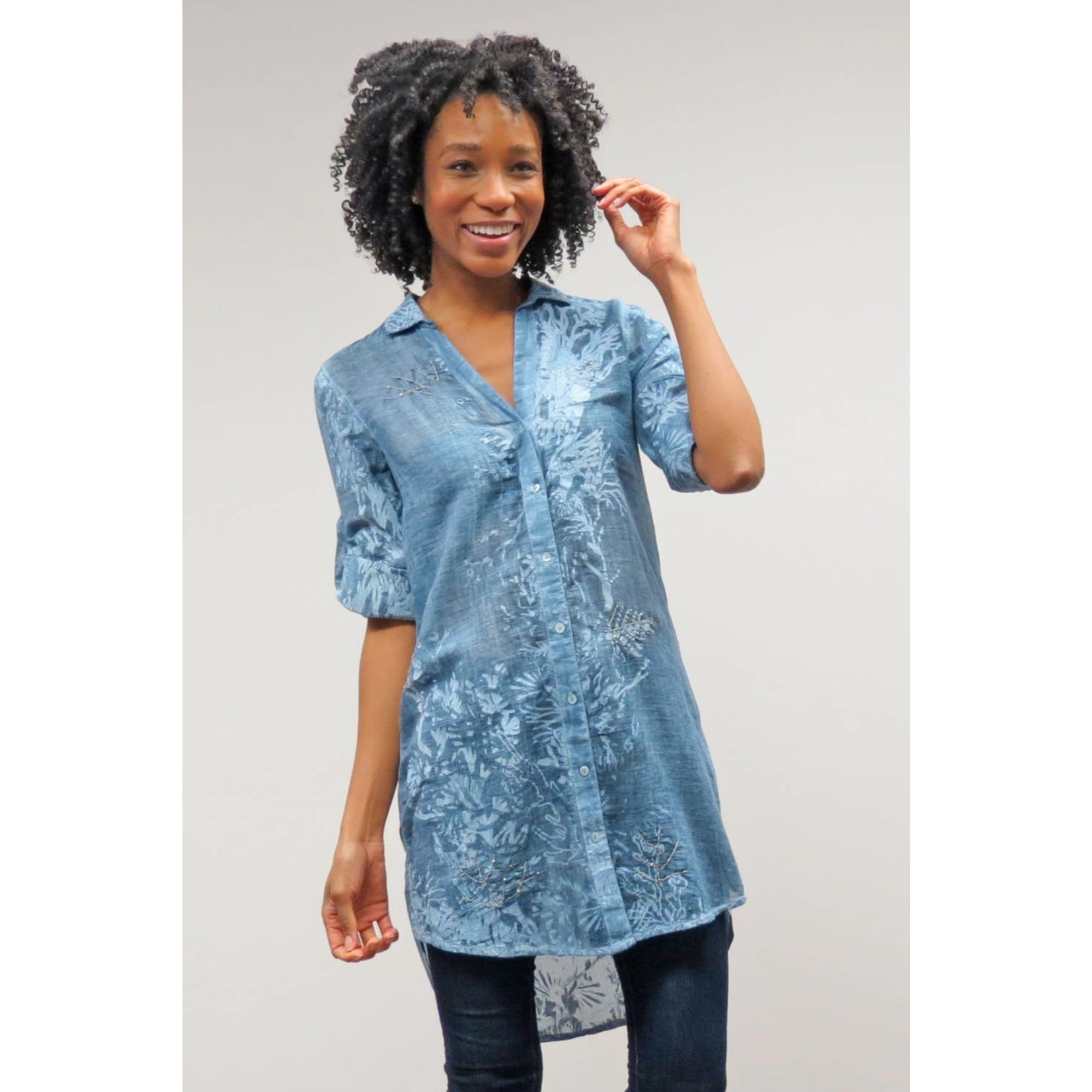 Caite Simone Indigo Sheer Button-Up Tunic w/  Stamped Floral Details