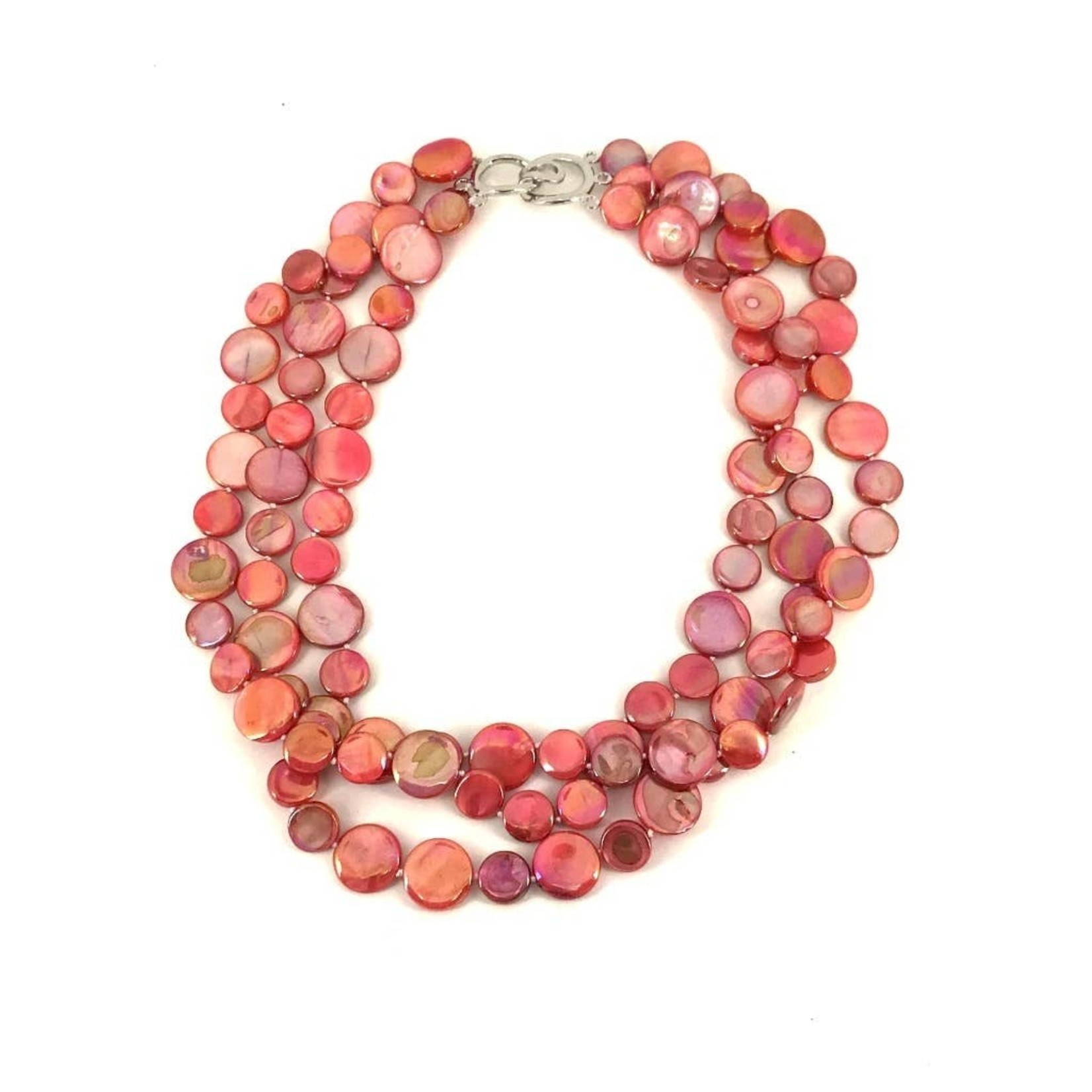 Sea Lily Coral 3 Strand Mother of Pearl Necklace