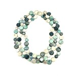 Sea Lily Turquoise Gray & Black 3 Strand Mother of Pearl Necklace