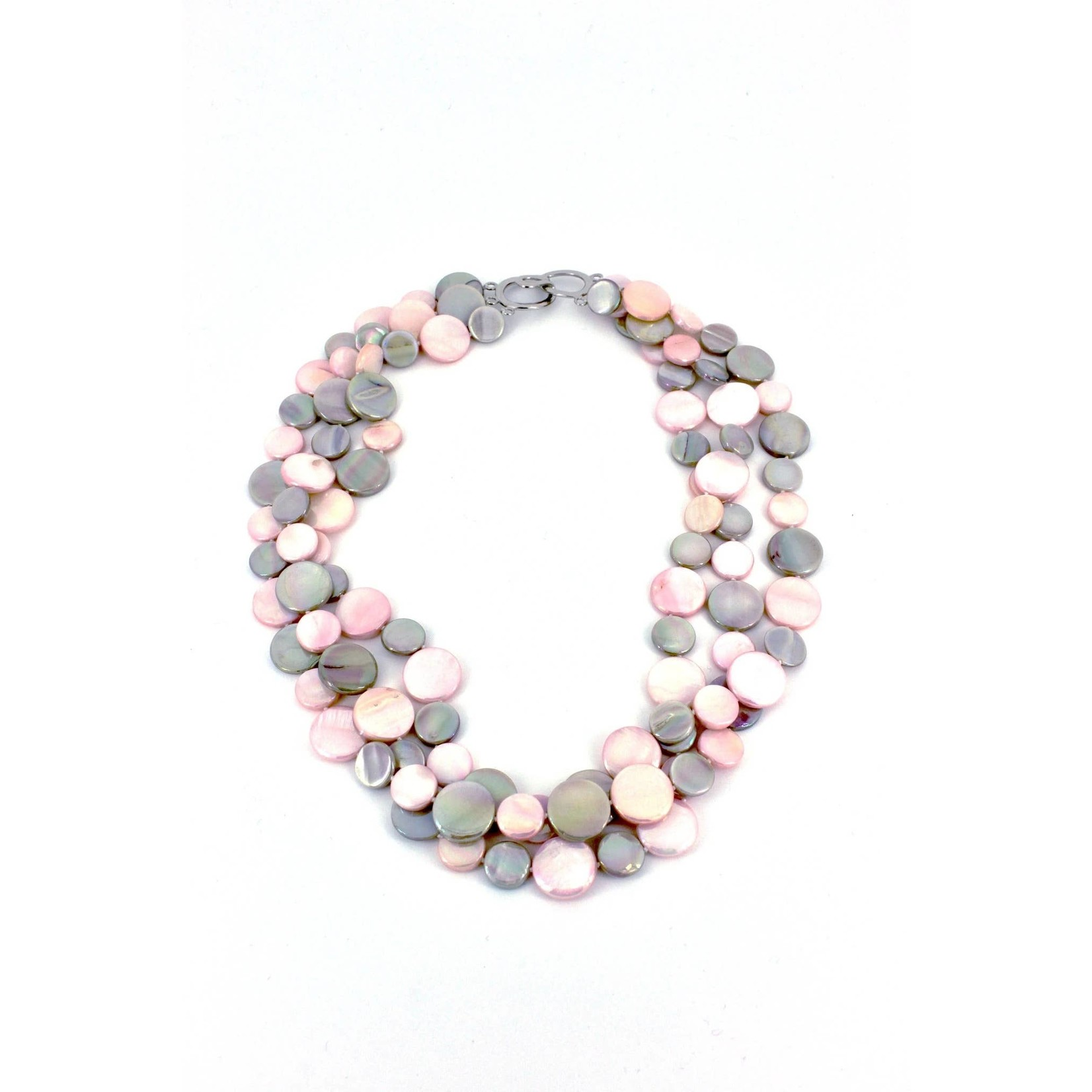 Sea Lily Taupe & Pink 3 Strand Mother of Pearl Necklace