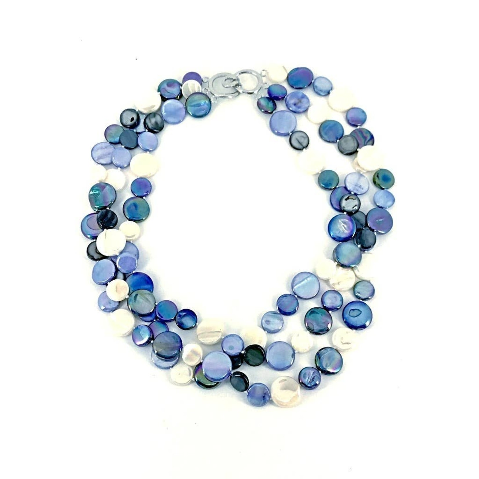 Sea Lily Midnight 3 Strand Mother of Pearl Necklace
