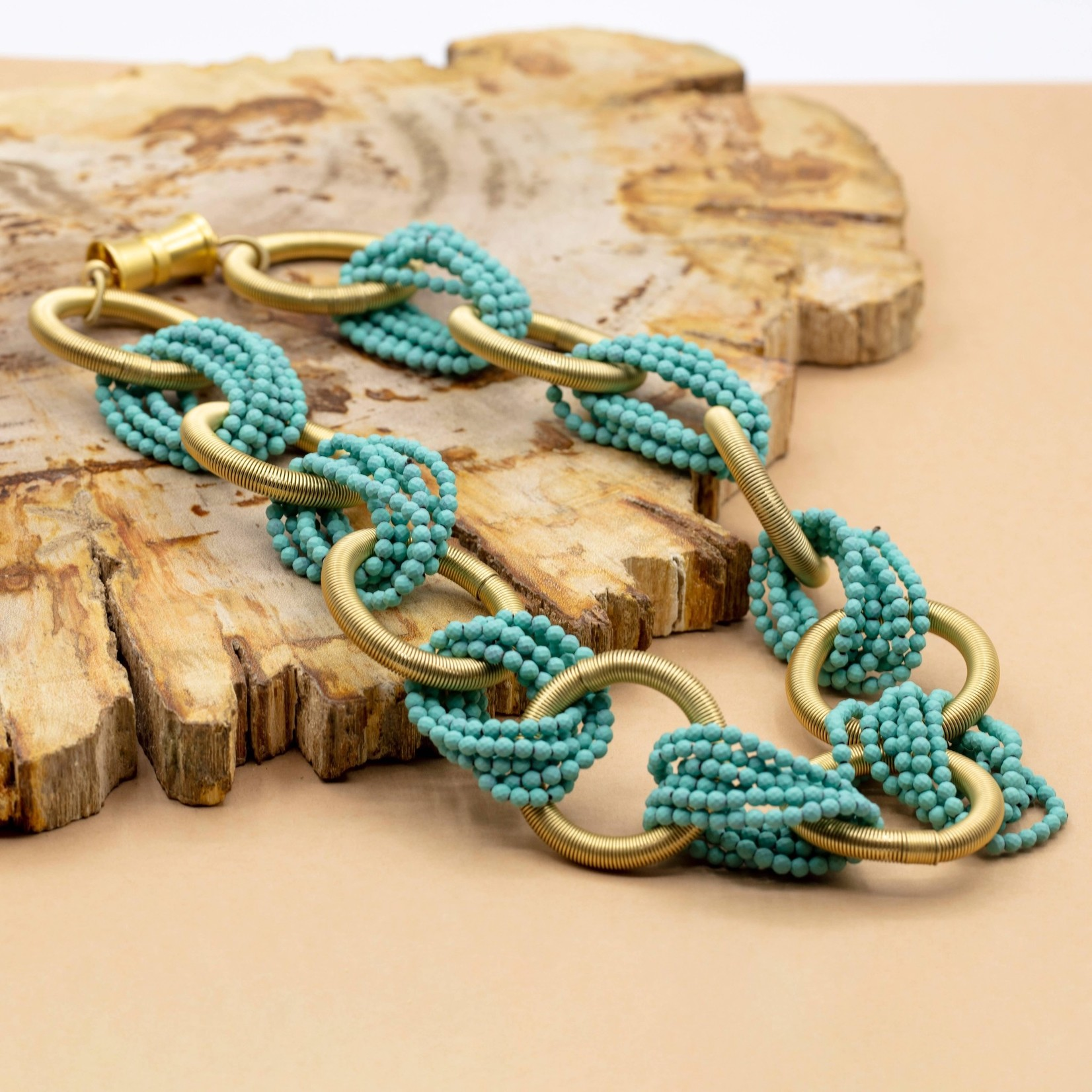 Sea Lily Necklace of Gold Piano Wire Rings w/Connecting Turqoise Hematite