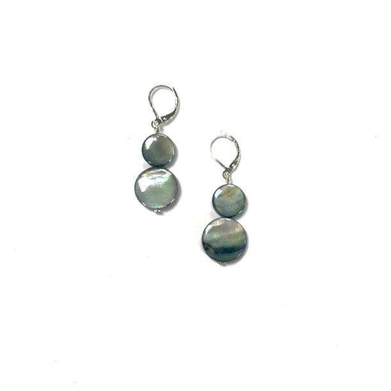 Sea Lily Dark Gray Mother of Pearl Earring