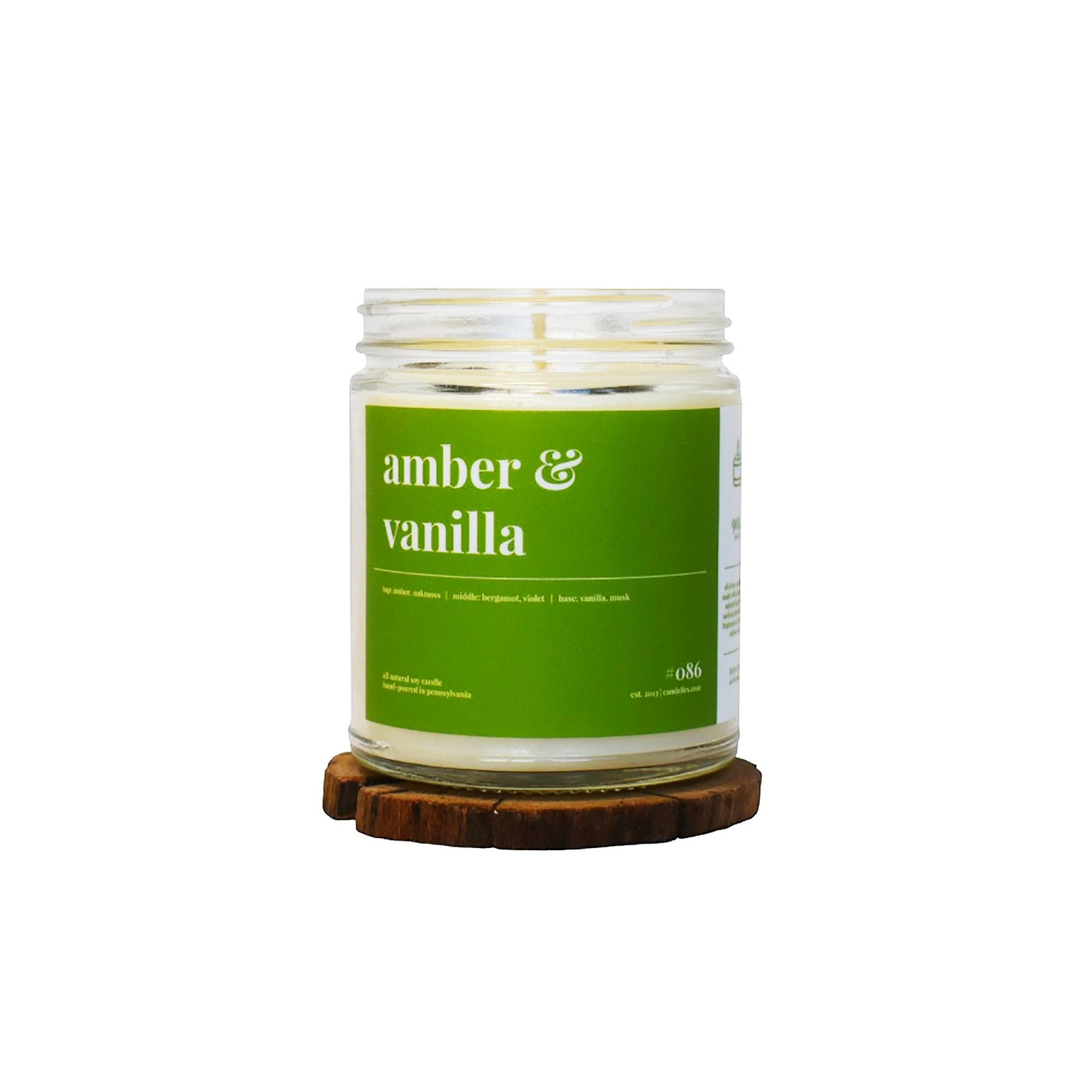 Candelles Soy Candles Amber and Vanilla 9 oz Soy Candle