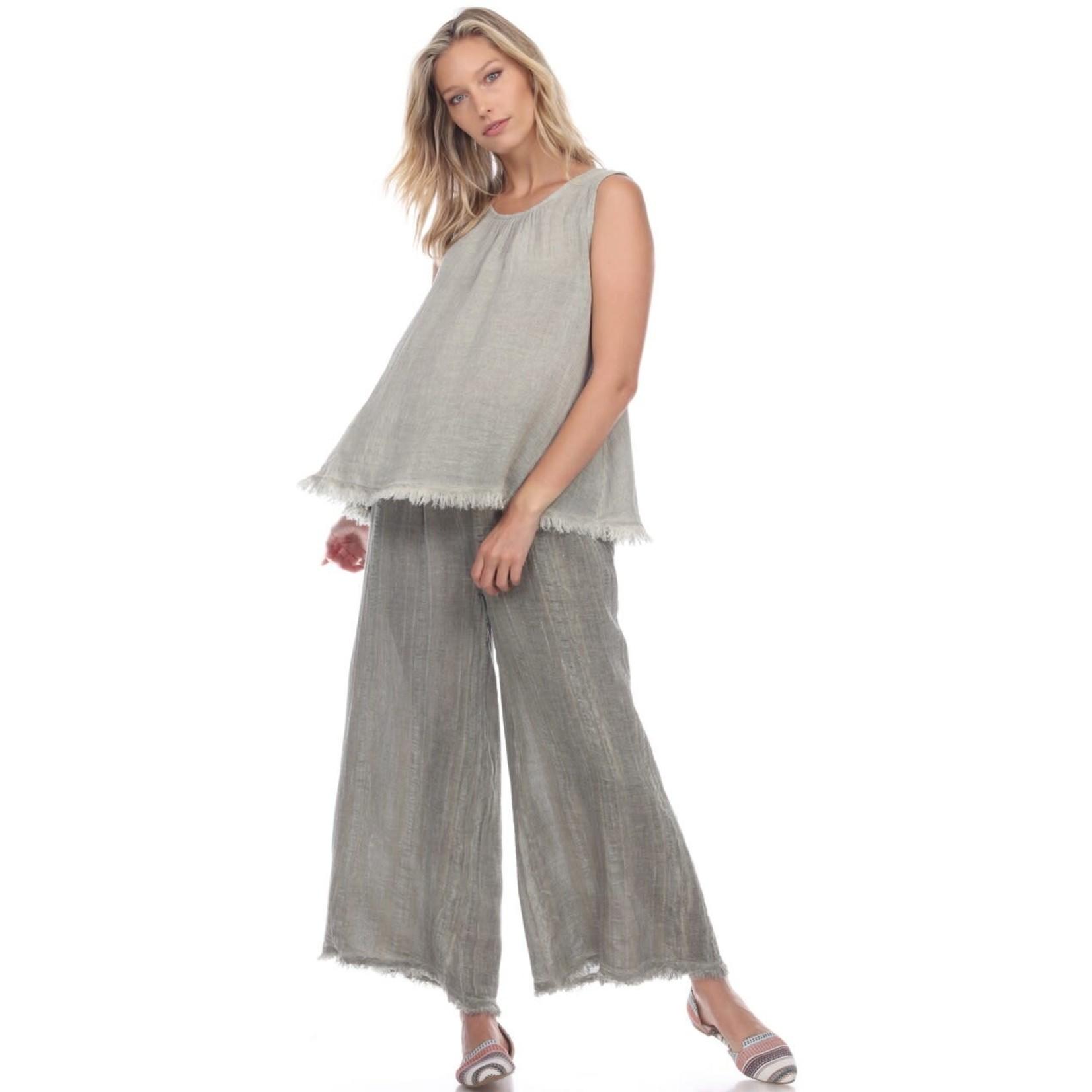 Flora Ashley Sage Textured Linen Pants w/ Fringe Bottom