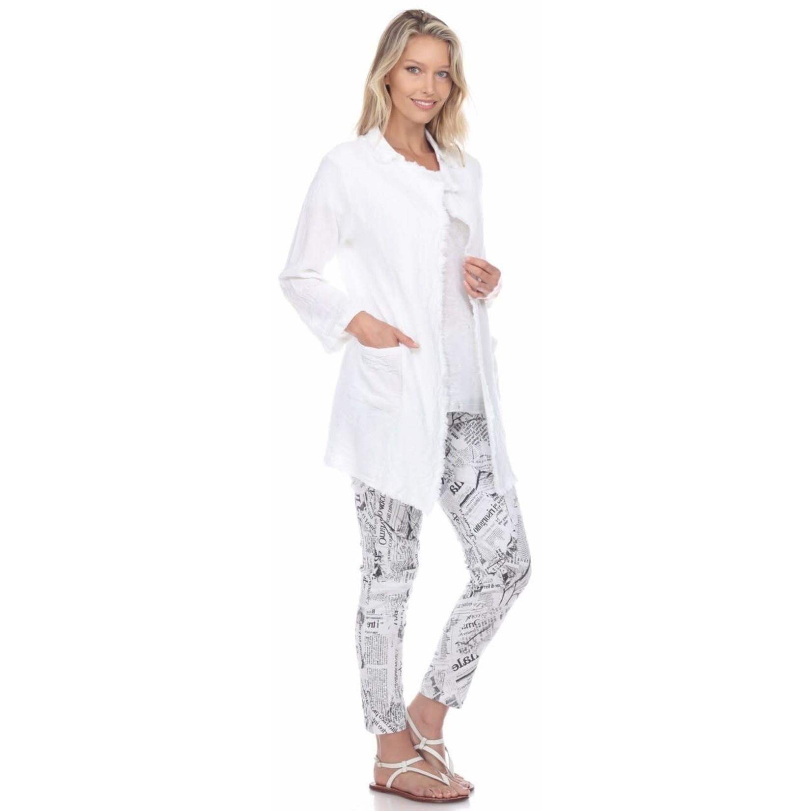 Flora Ashley White Jacket w/ Fringe Hem and Pockets