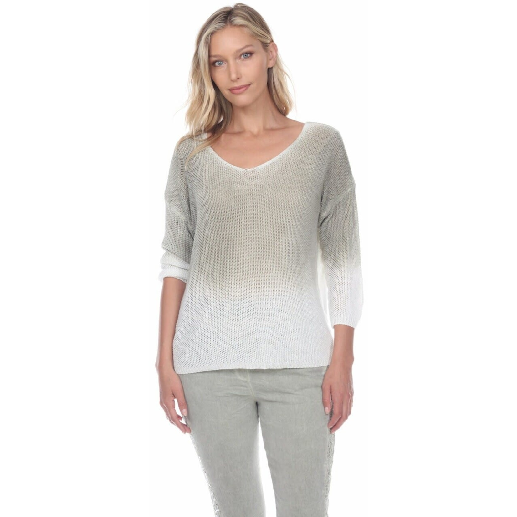Flora Ashley Sage and Off-white Ombre Waffle Knit Sweater