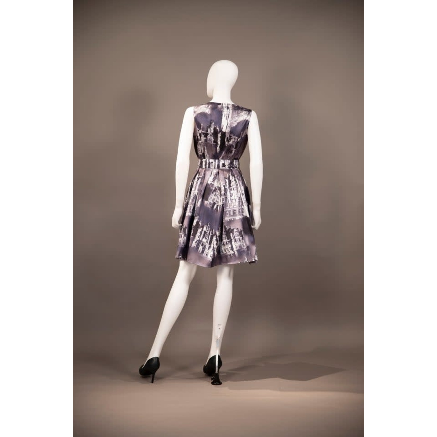 Samuel Dong Midnight Paris Print A-Line Dress