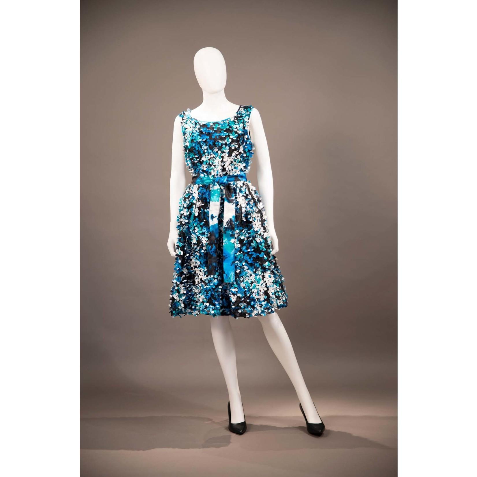Samuel Dong Blue and White Petal Dress