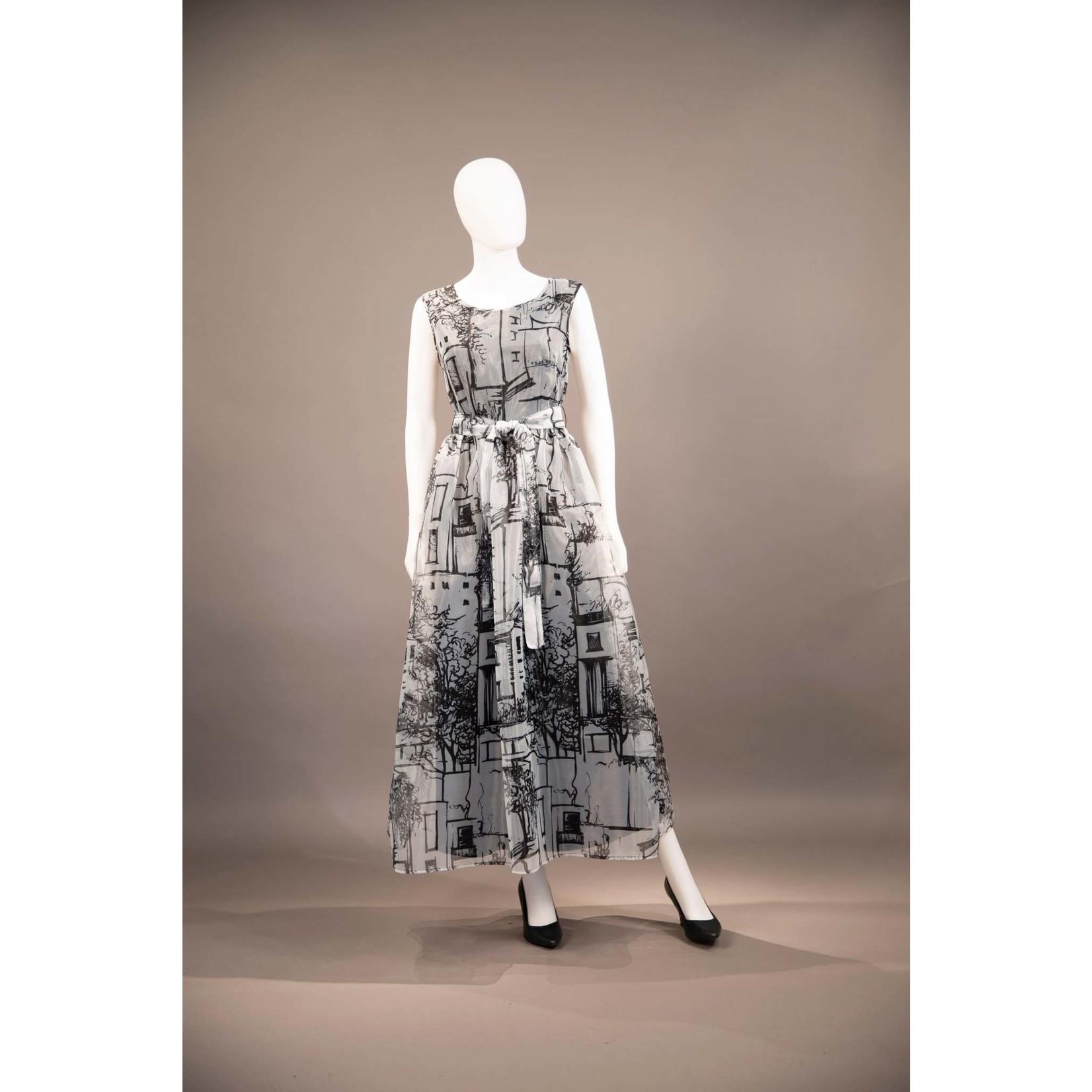 Samuel Dong Black and White Print Organza Long Dress