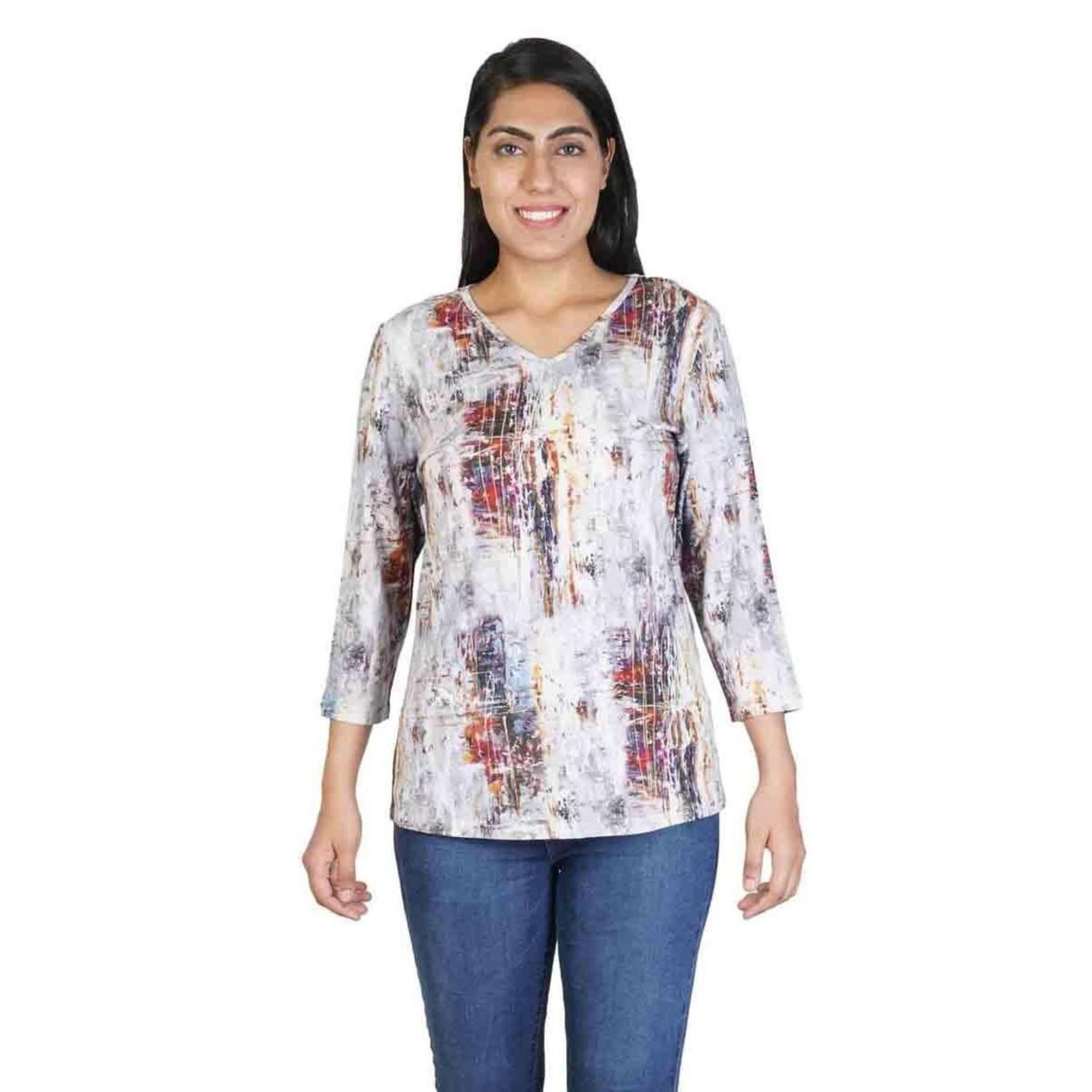 Parsley and Sage Coco Earthy Abstract 3/4 Sleeve Top