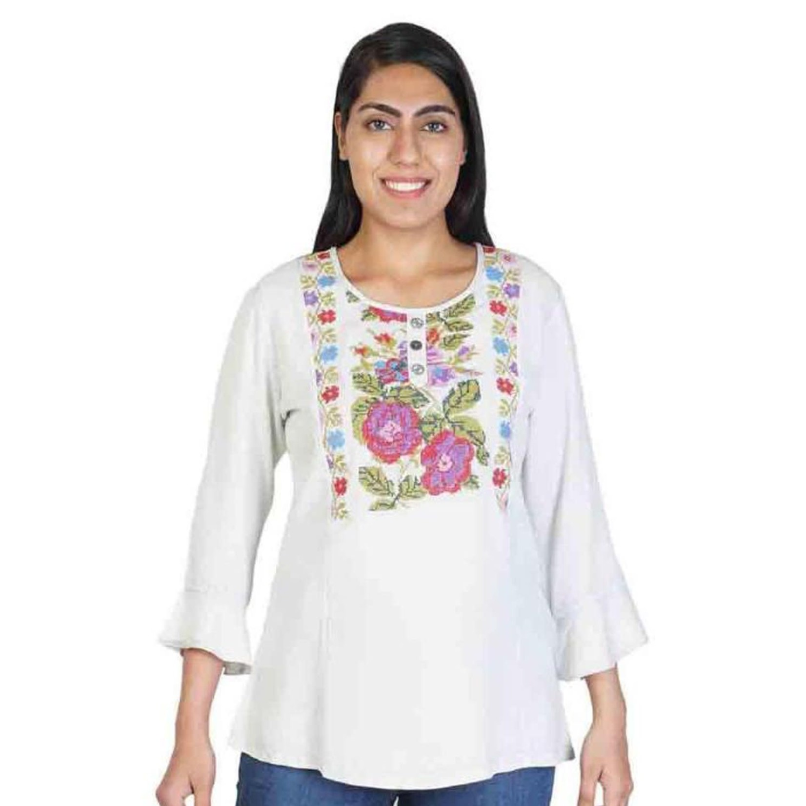 Parsley and Sage Natalie Off-white Top w/ Embroidered Floral Pattern