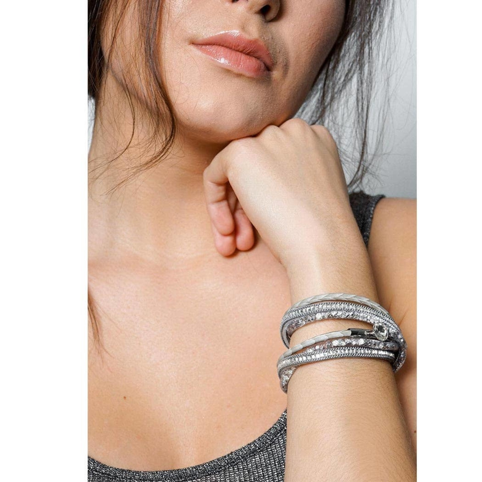 Disco Double Wrap Grey Bracelet With Crystals