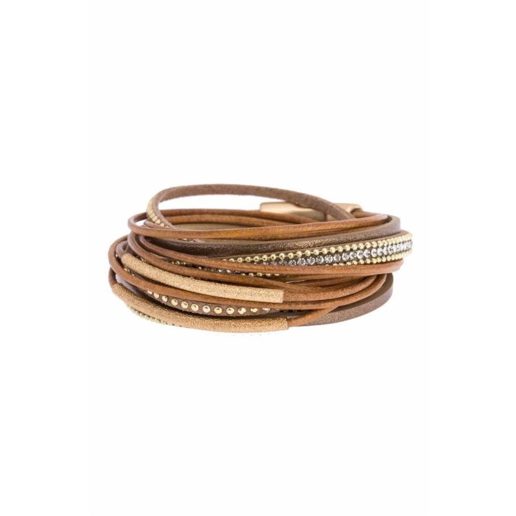 Flaunt Rhinestone Brown Leather Wrap Bracelet