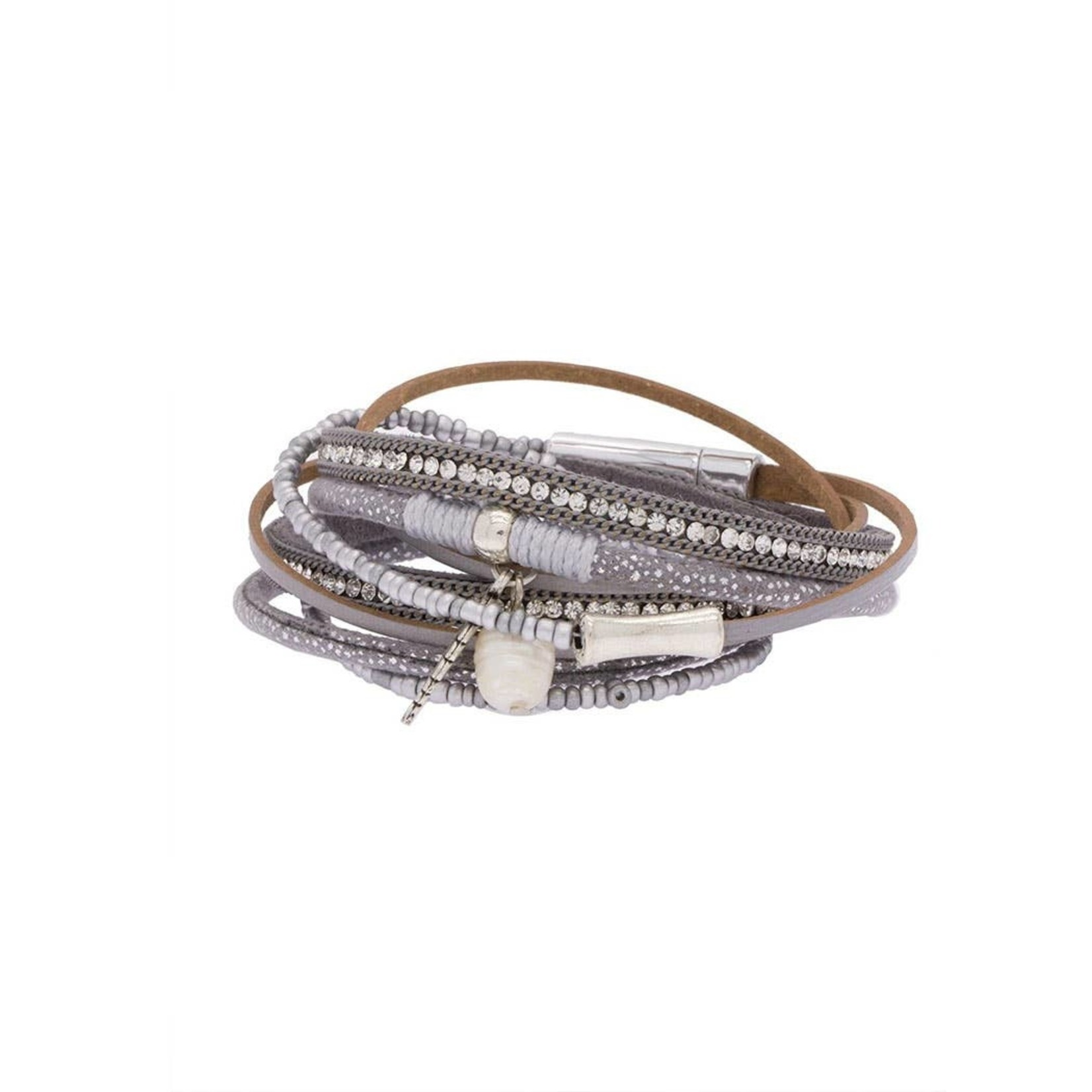 Sacramento Faux Leather Bracelet In Grey