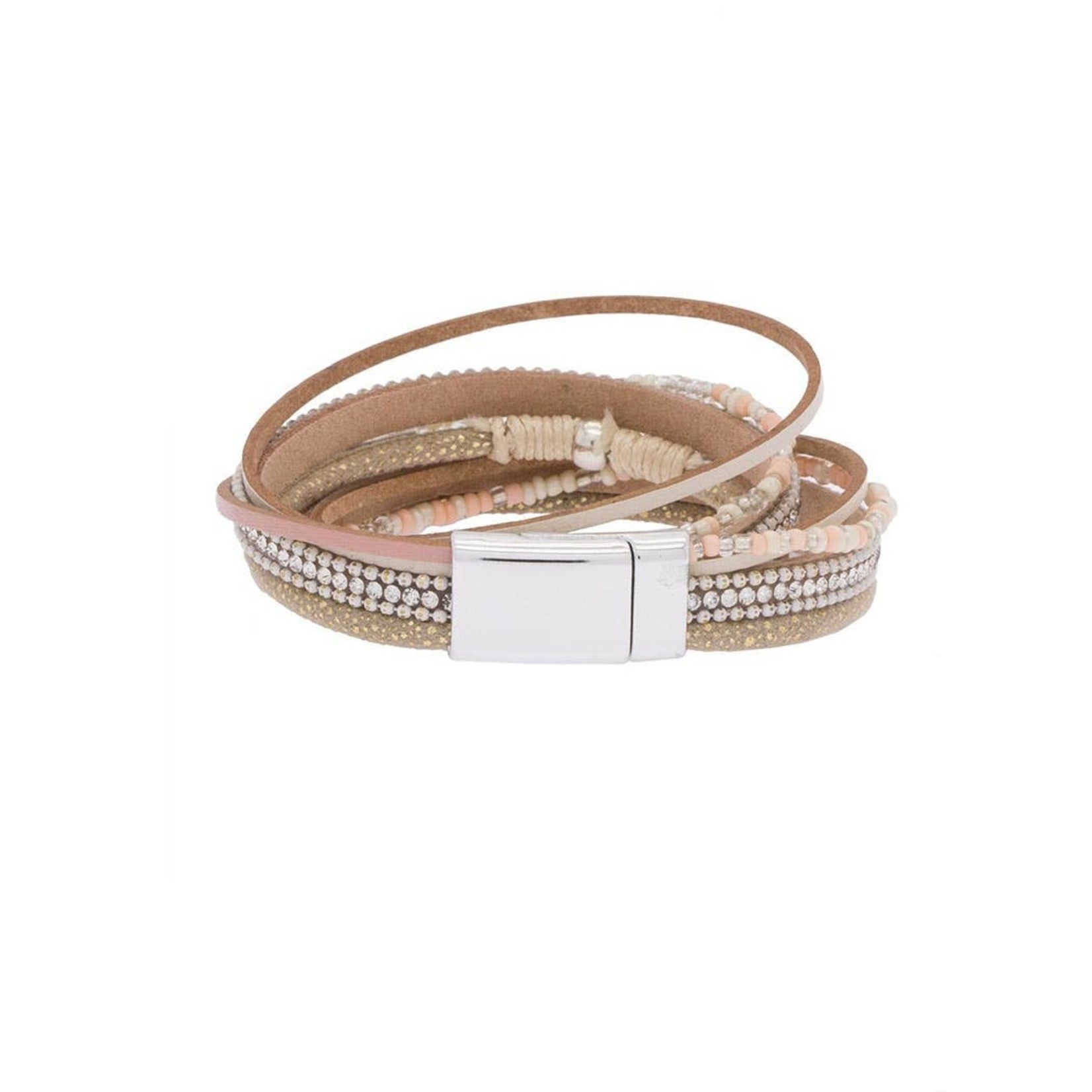 Sacramento Faux Leather Bracelet In Tan