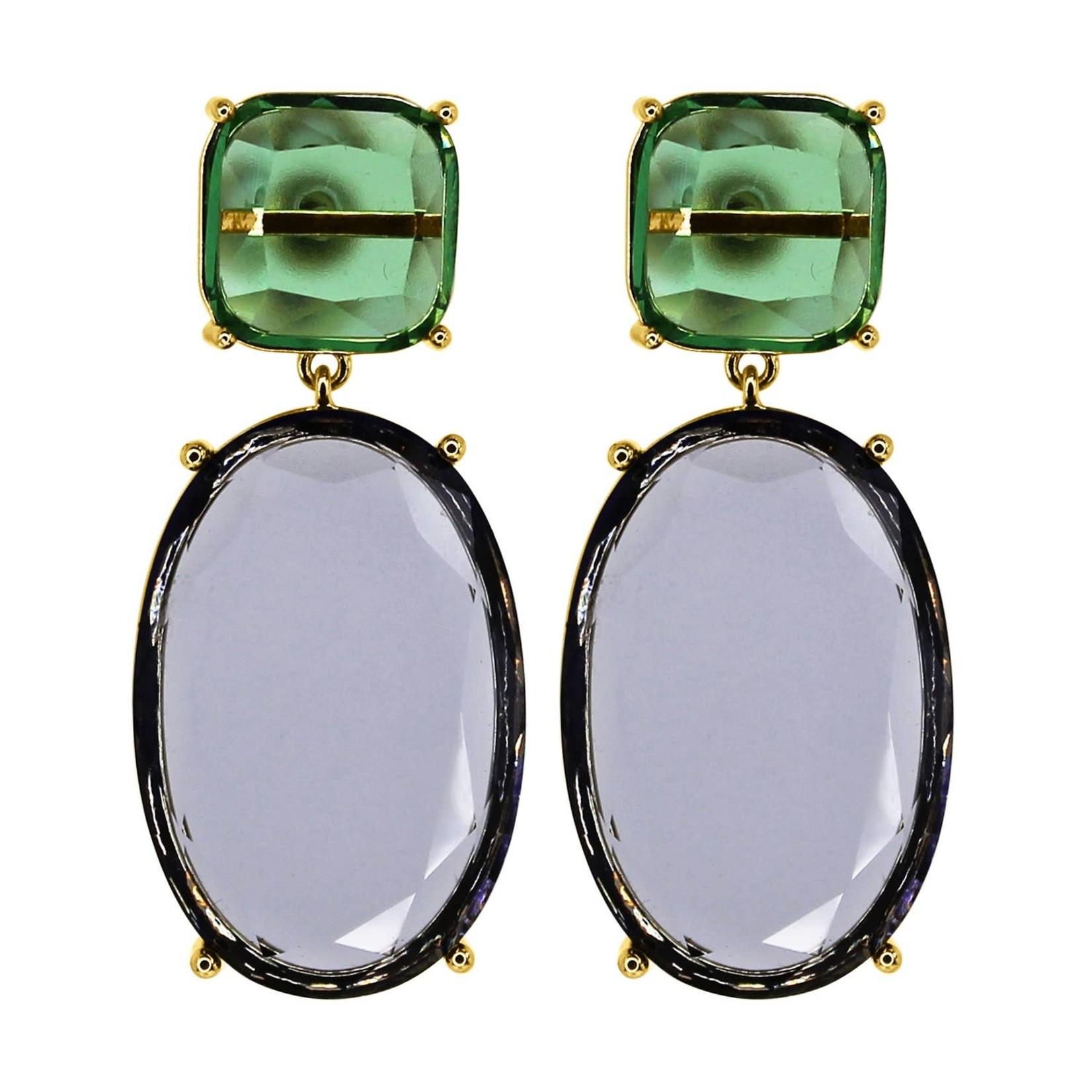 Earrings/Square & Oval Crystal Green/Purple