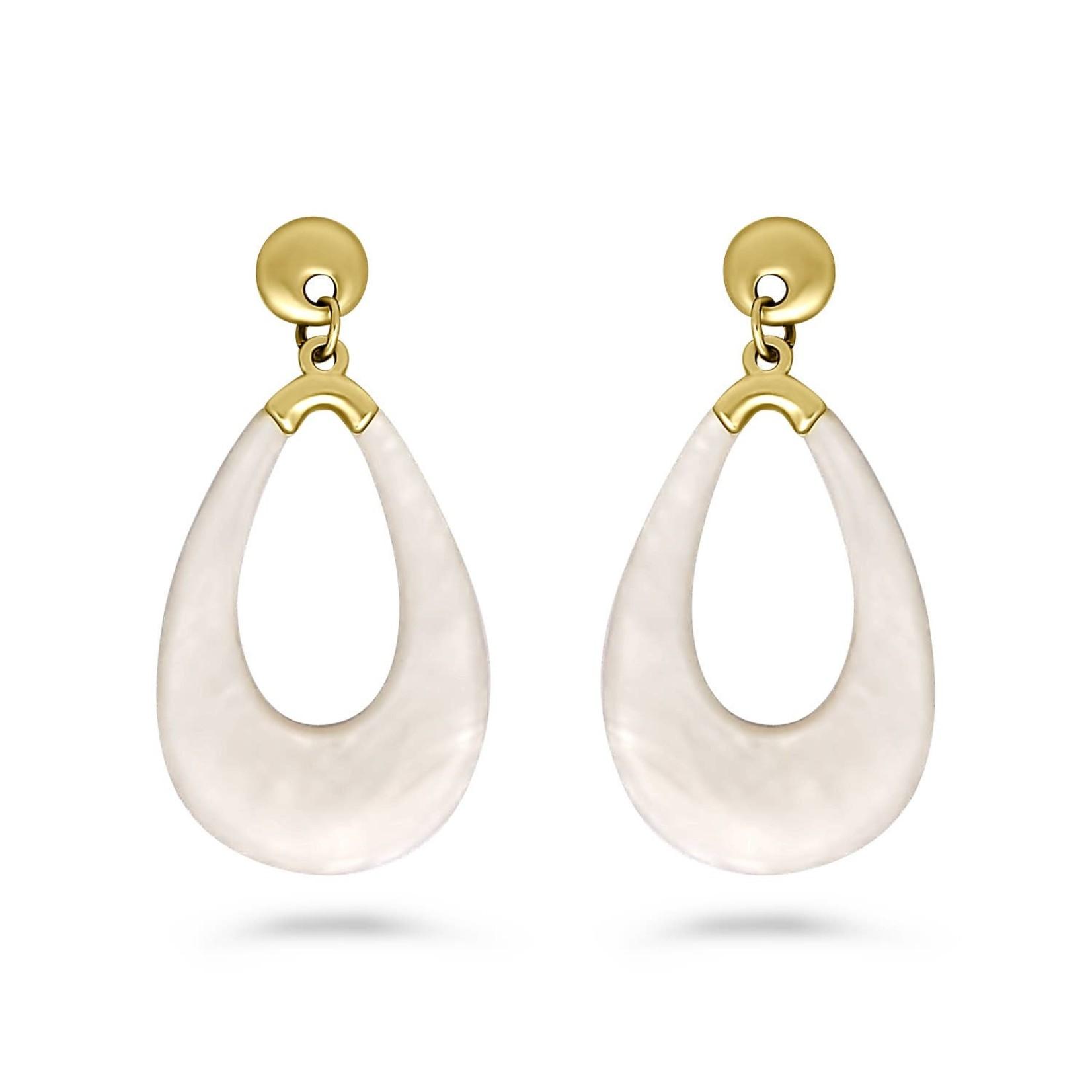 Earrings/Matt White Resin Teardrops