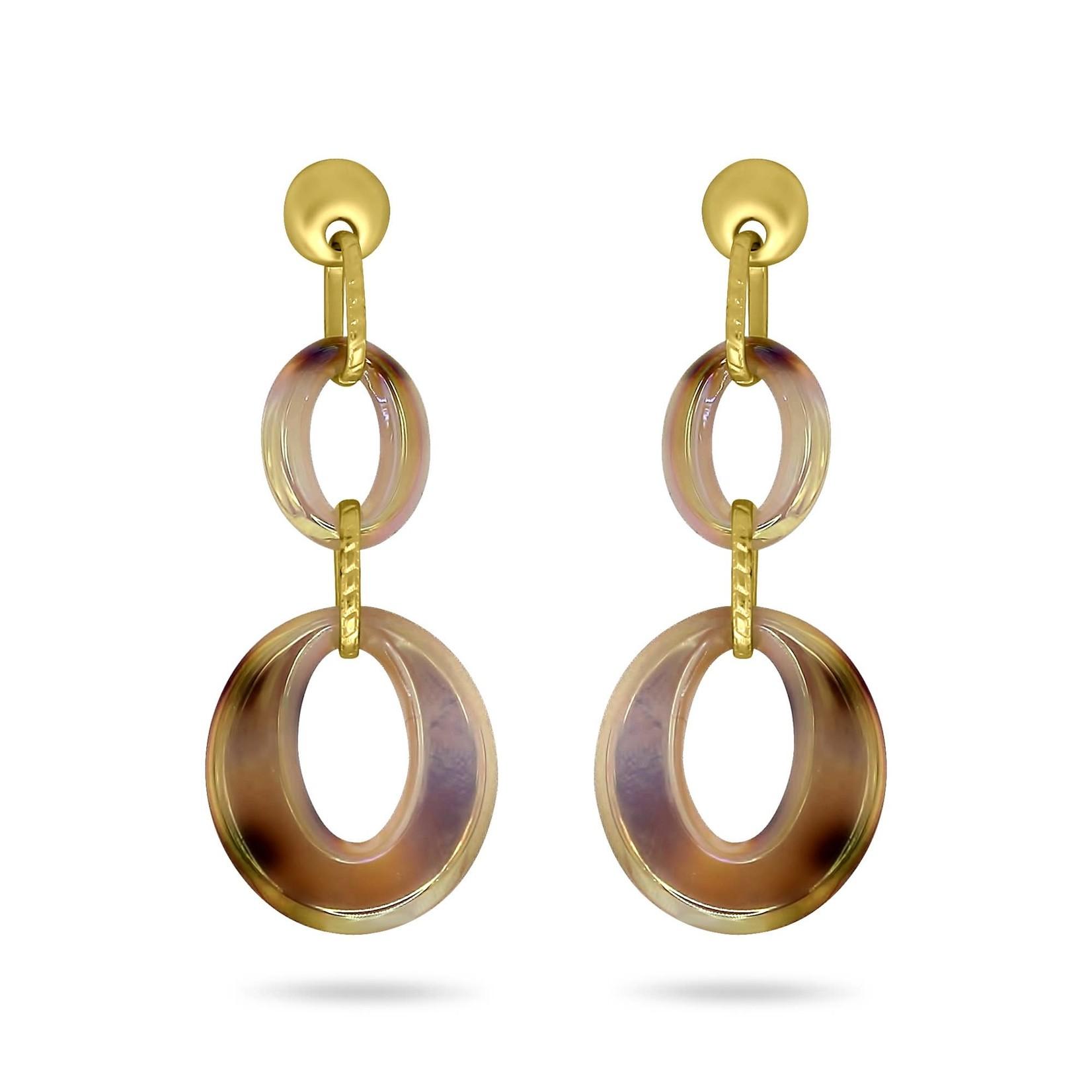 Double Oval Blonde Resin Drop Earrings