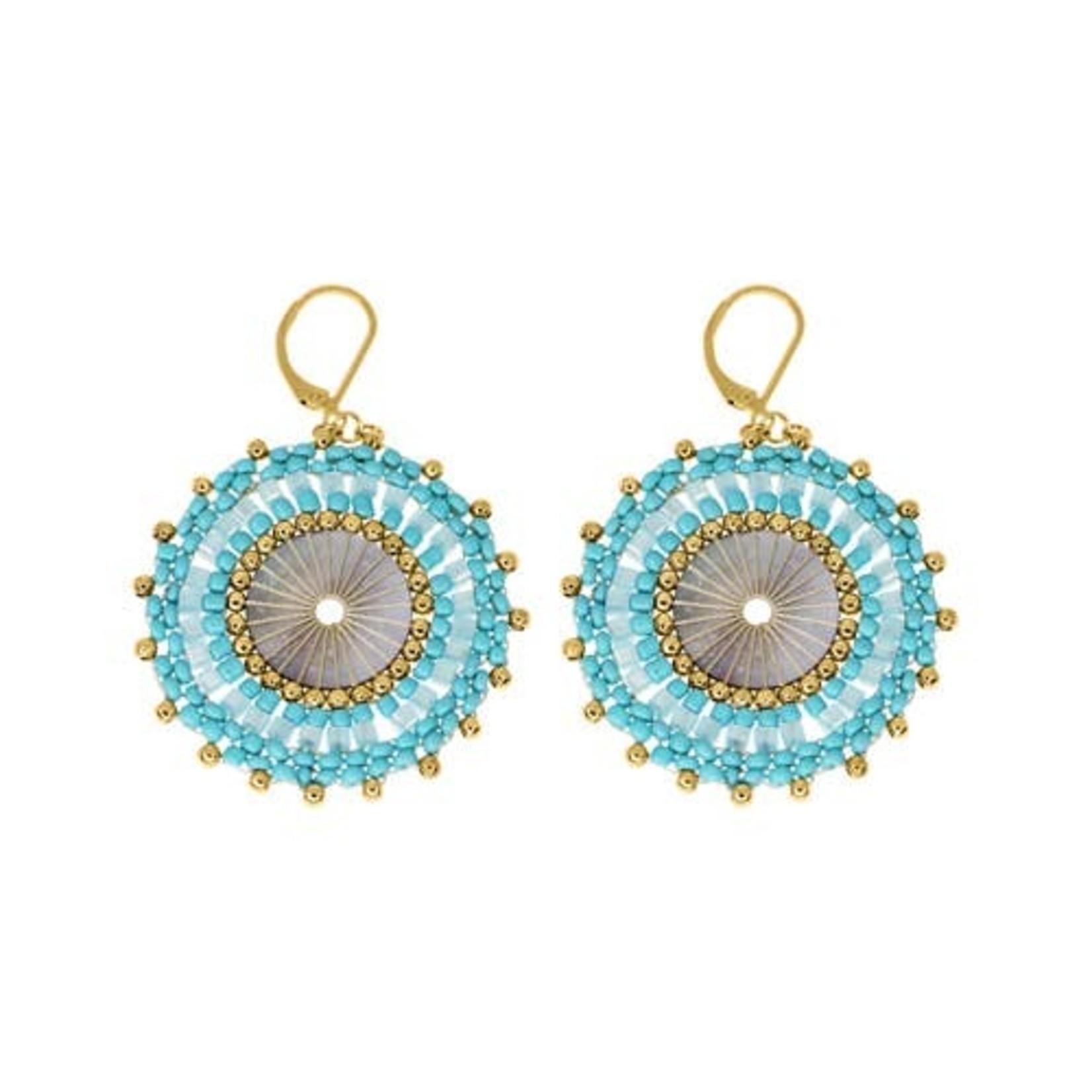 Turquoise & Gold Beaded Disc Earrings
