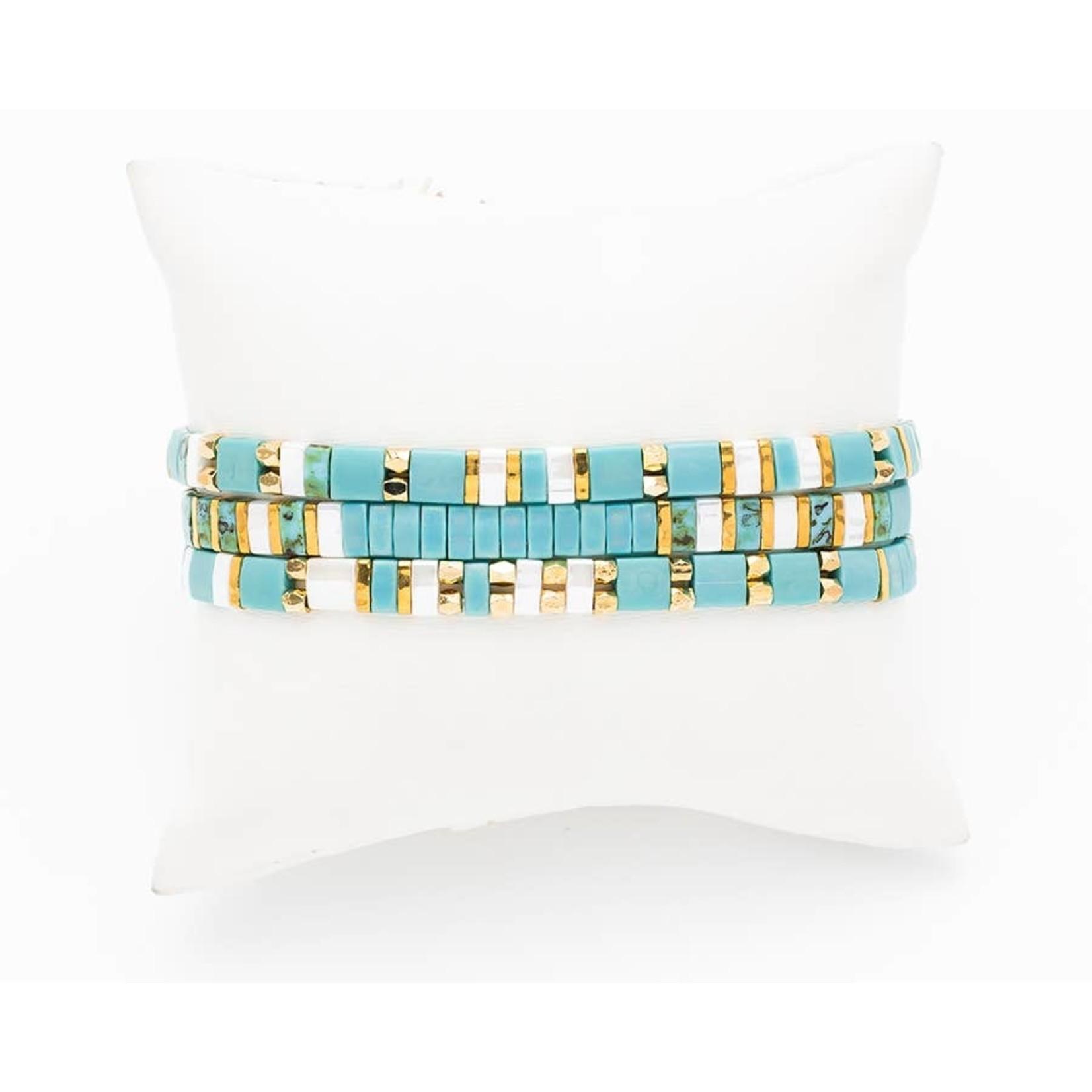 Bracelet Set (3) Miyuki Beads (Flat) TurqWhite