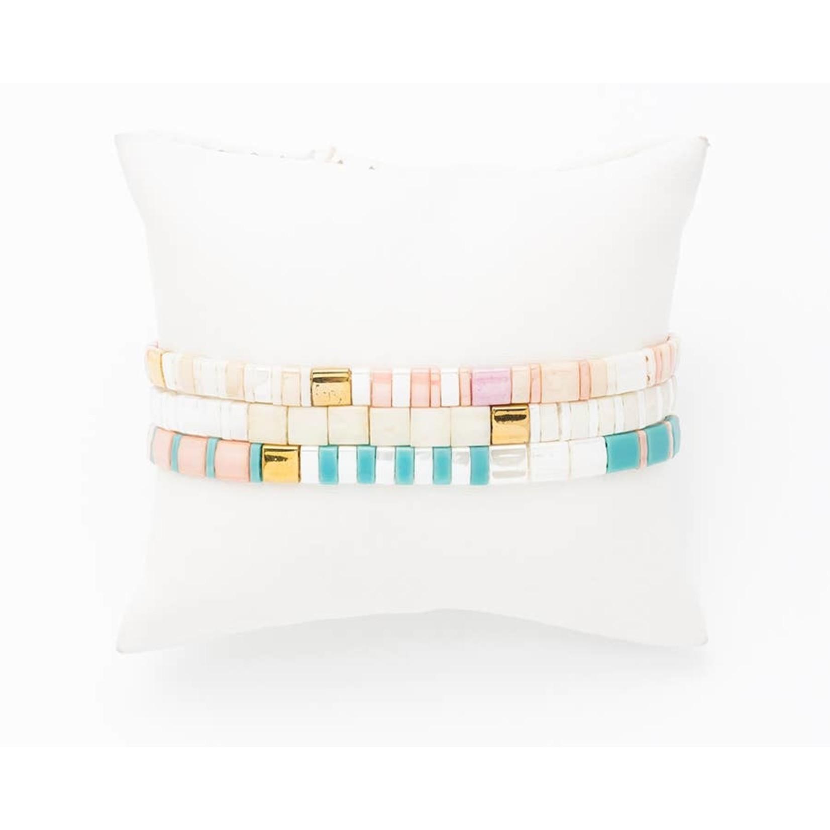 Bracelet Set (3) Miyuki Beads (Flat) PeachTurqWhite