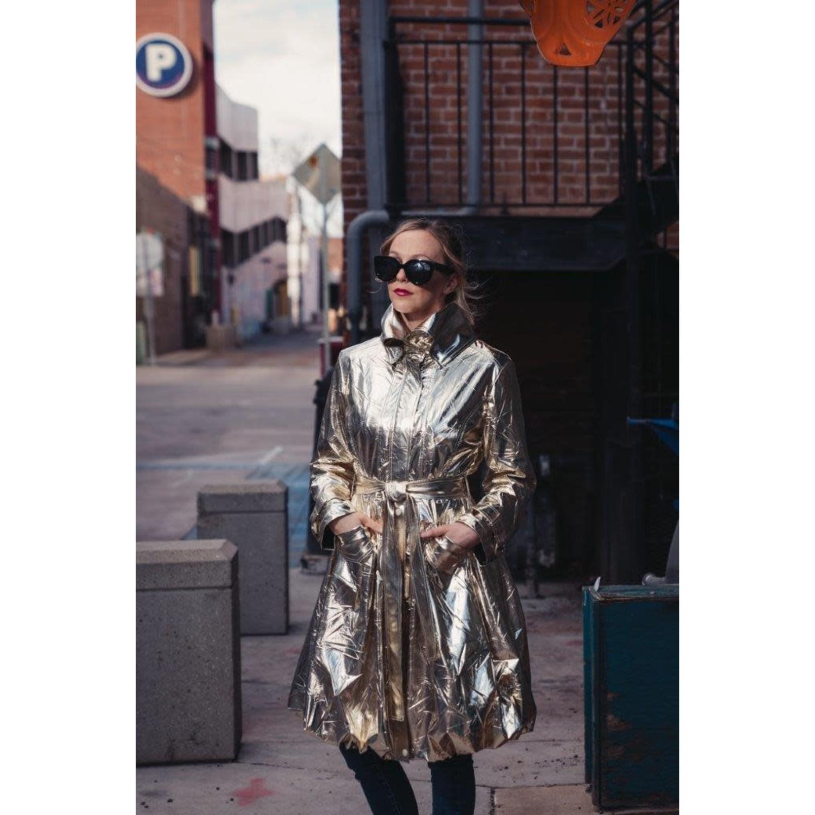 Samuel Dong Classic Bubble Coat - Light Shiny Gold