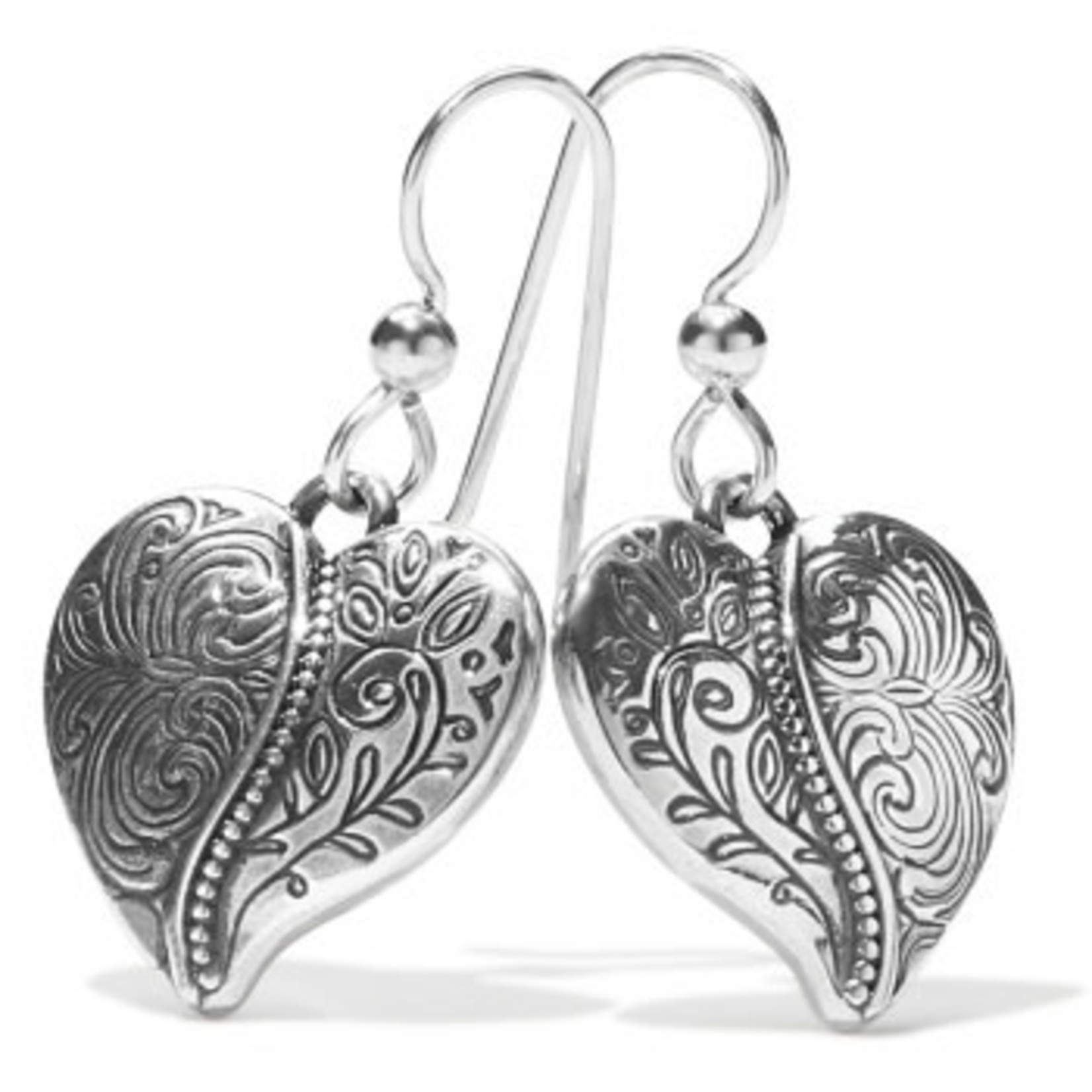Brighton Ornate Heart French Wire Earrings Silver OS