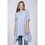 Rain + Rose Tiffany Button-Up Striped Seersucker Tunic
