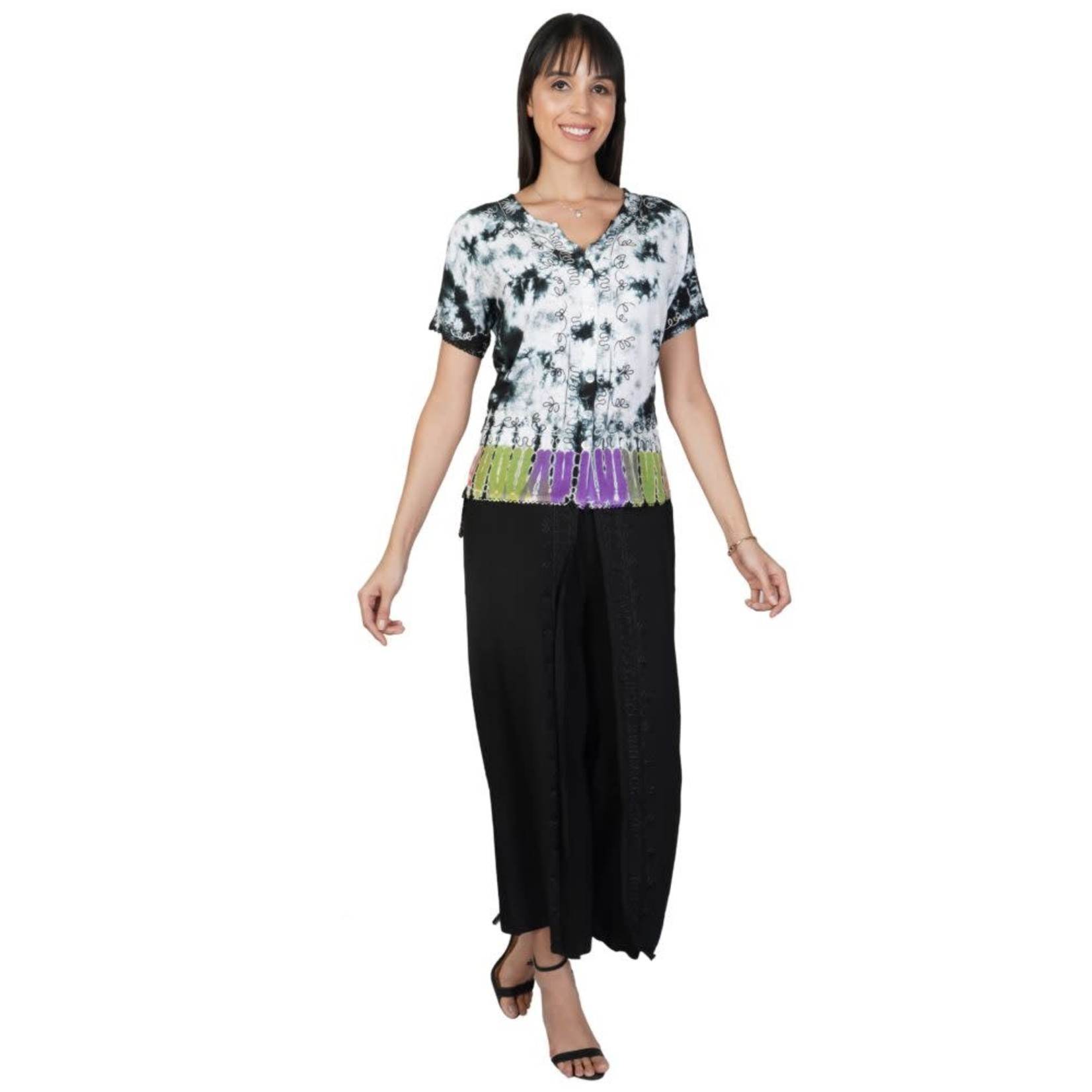 Parsley and Sage Janis SS Top w/ Black Spatter and Multi Color Waist