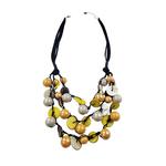Sweet Lola Yarrow -Yellow & Grey Ceramic Beads with Coco Shells Necklace