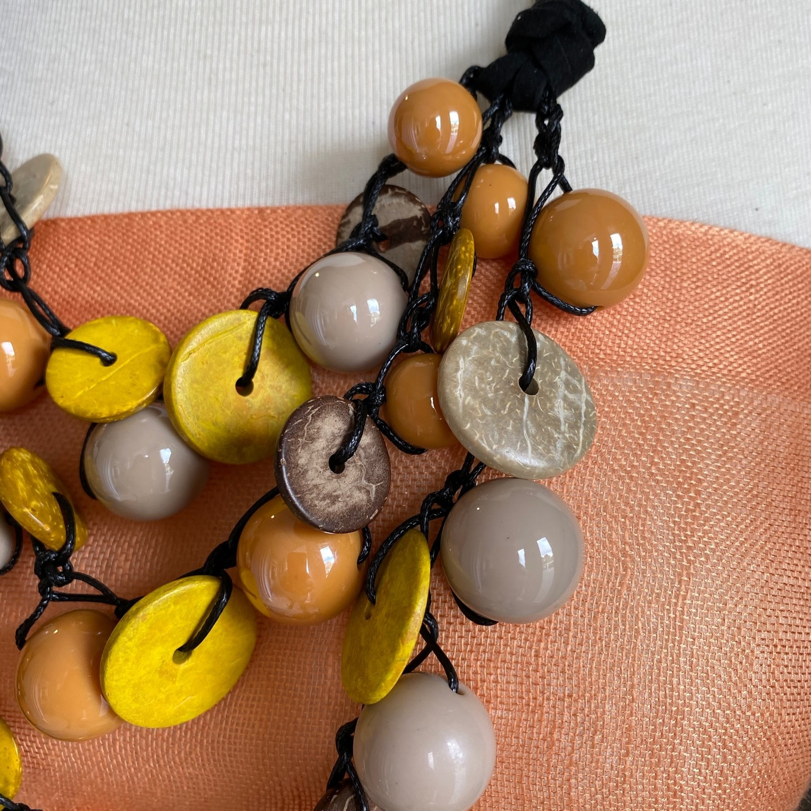 Yarrow -Yellow & Grey Ceramic Beads with Coco Shells Necklace
