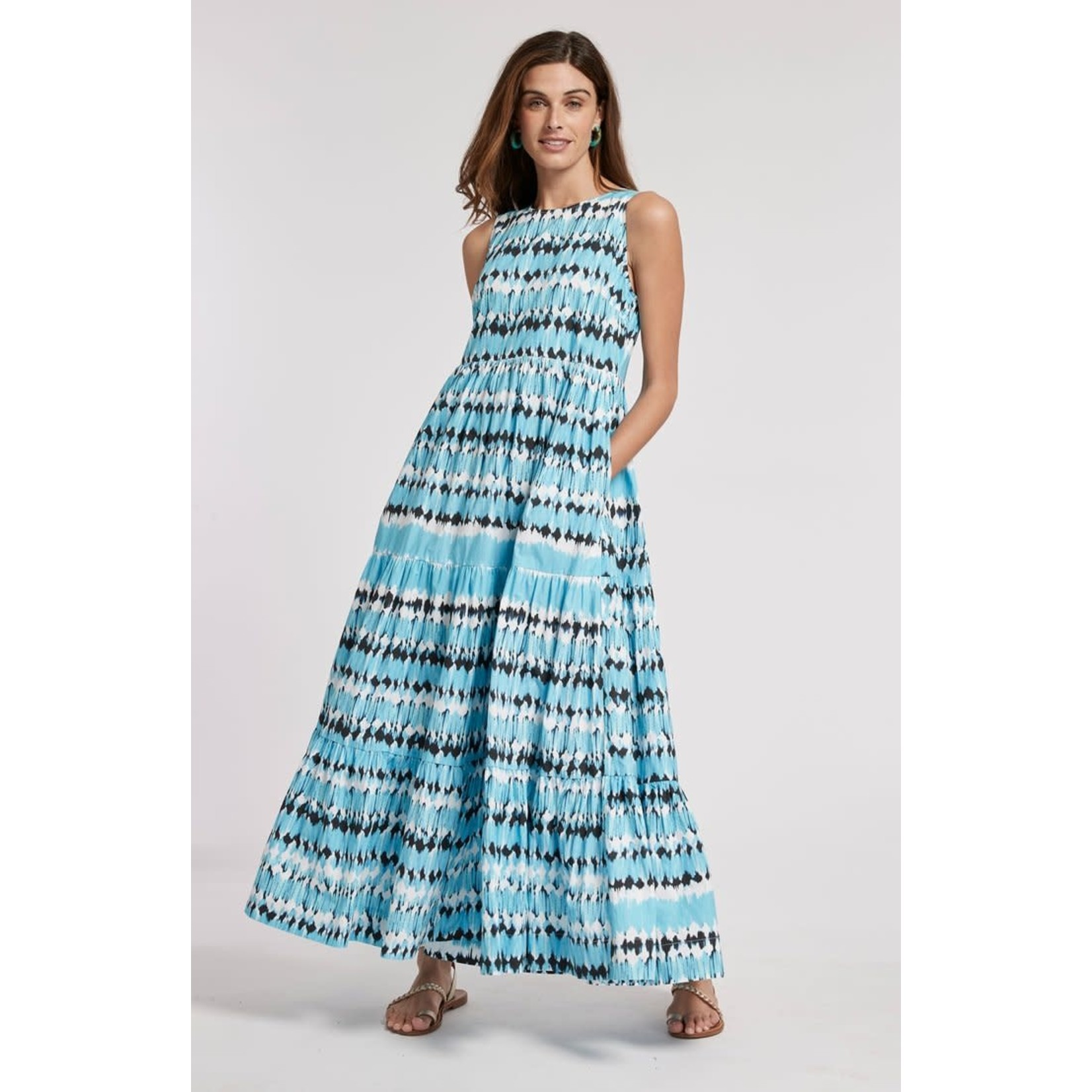 Tyler Boe Rachel Poplin Maxi Dress in Turquoise and Black