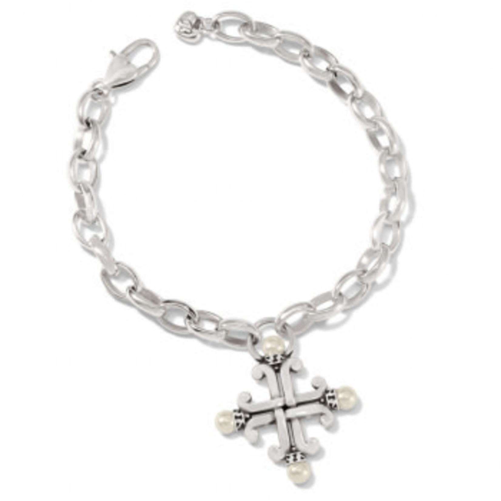 Brighton Taos Pearl Cross Bracelet Silver-Pearl
