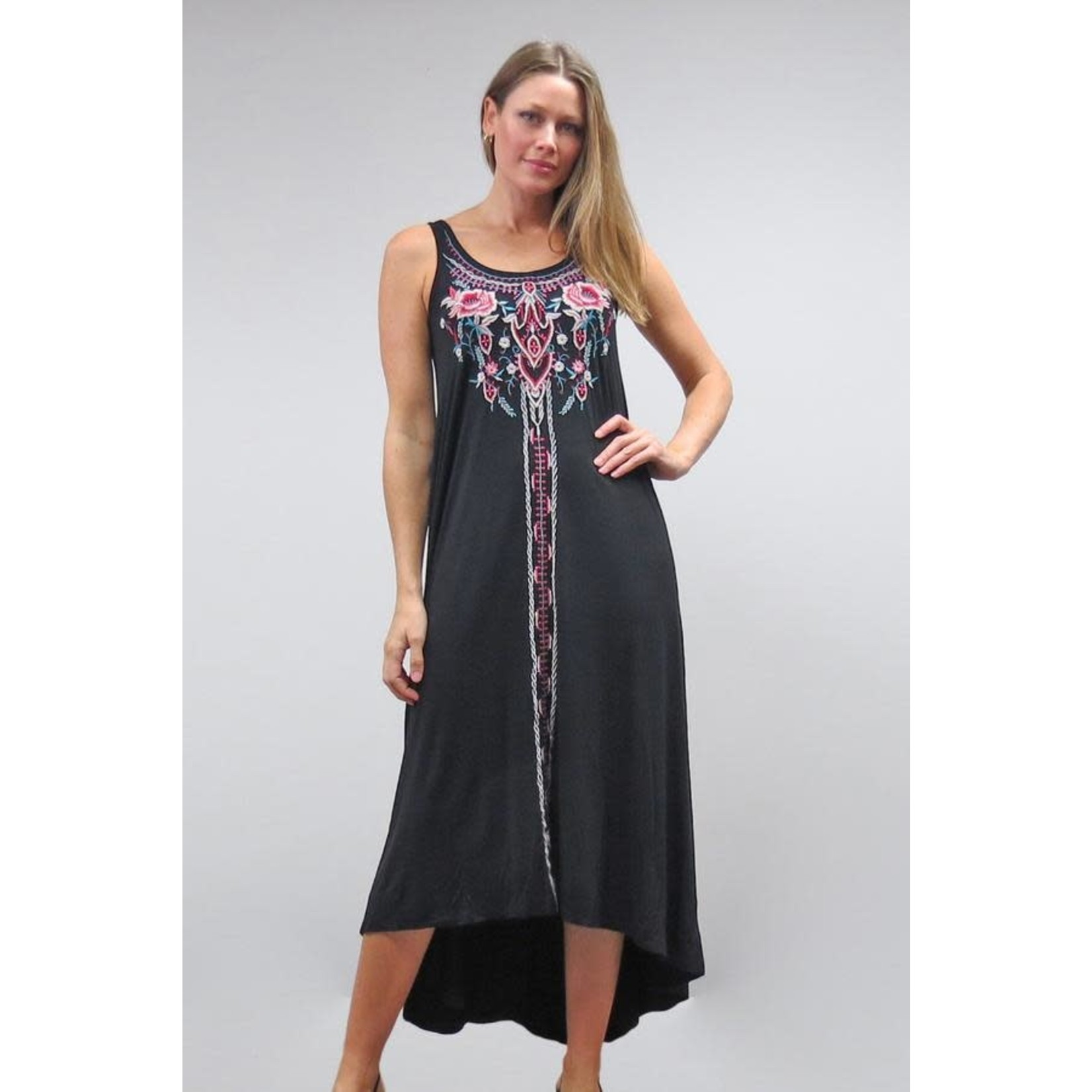 Caite Jules Faded Black Long Dress w/ Multi-color Embroidery