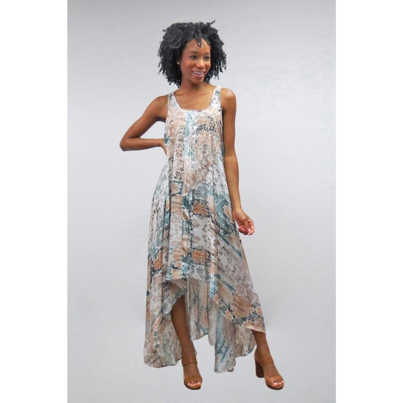 Caite Greer Hi-Lo Polysilk Dress w/ Bohemian Style Print