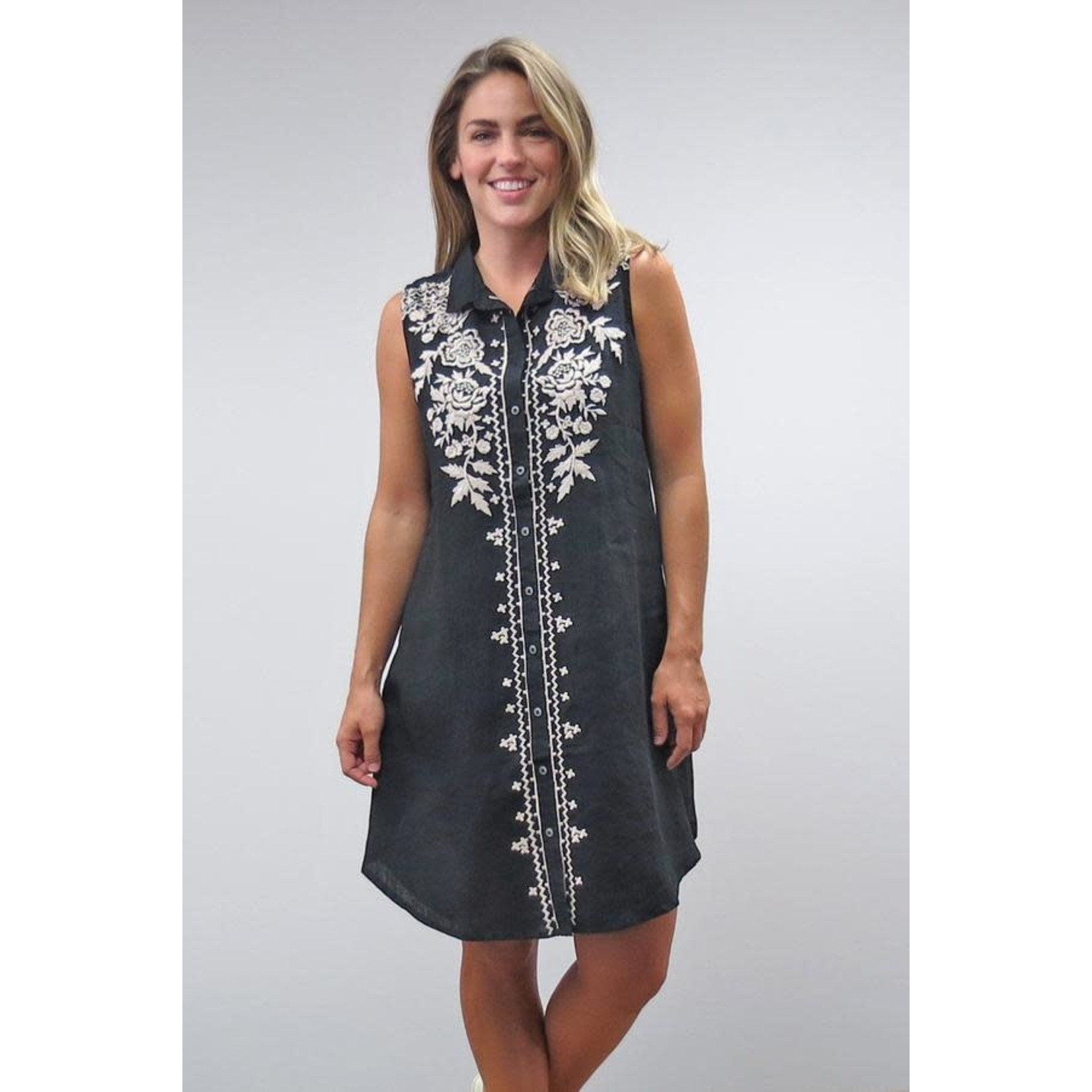 Caite Tiya Black Button-up Dress w/ White Embroidered Detail