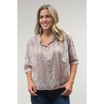 Caite Tobi Button-up Top w/ Bohemian Style Print