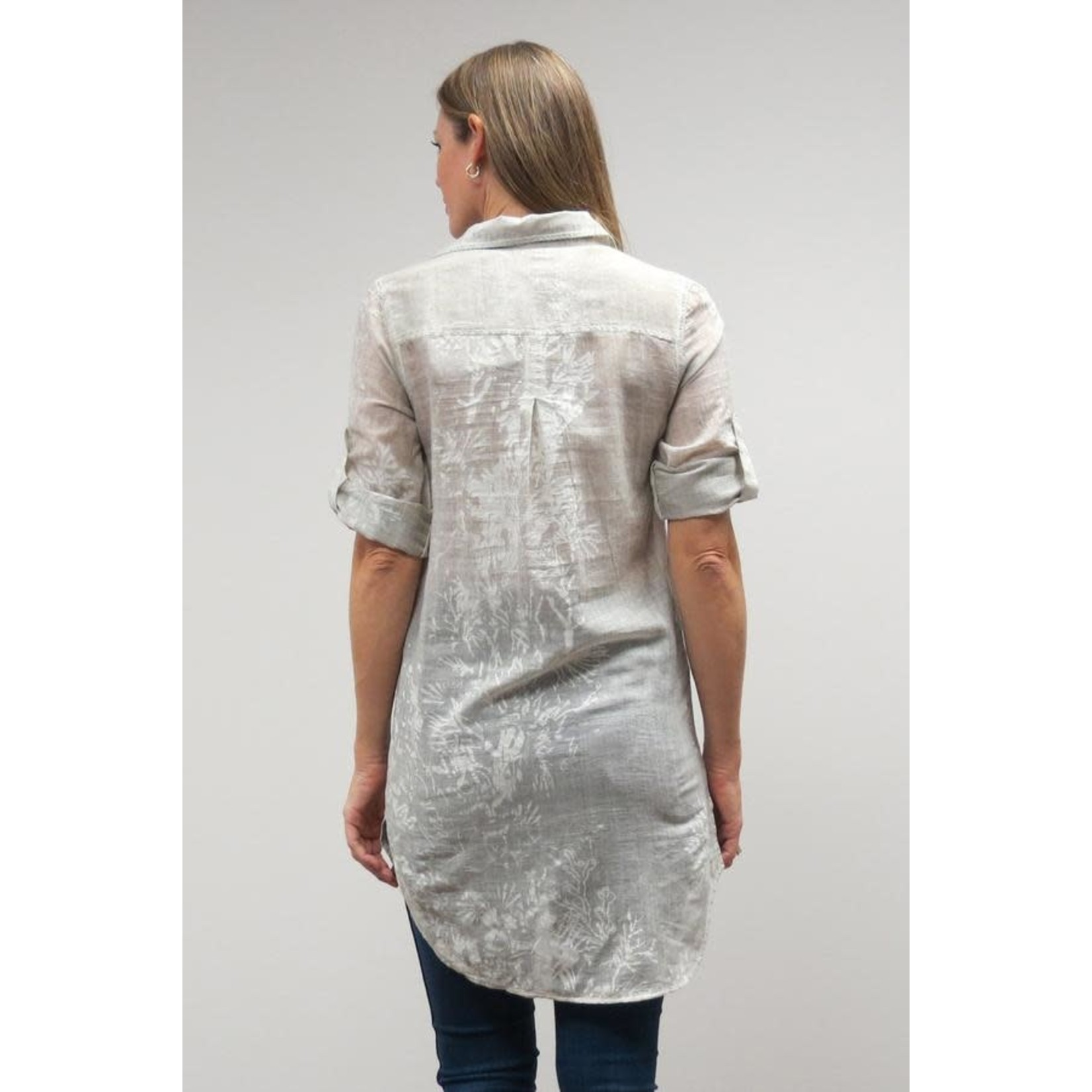 Caite Simone Cement Sheer Button-Up Tunic w/  Stamped Floral Details