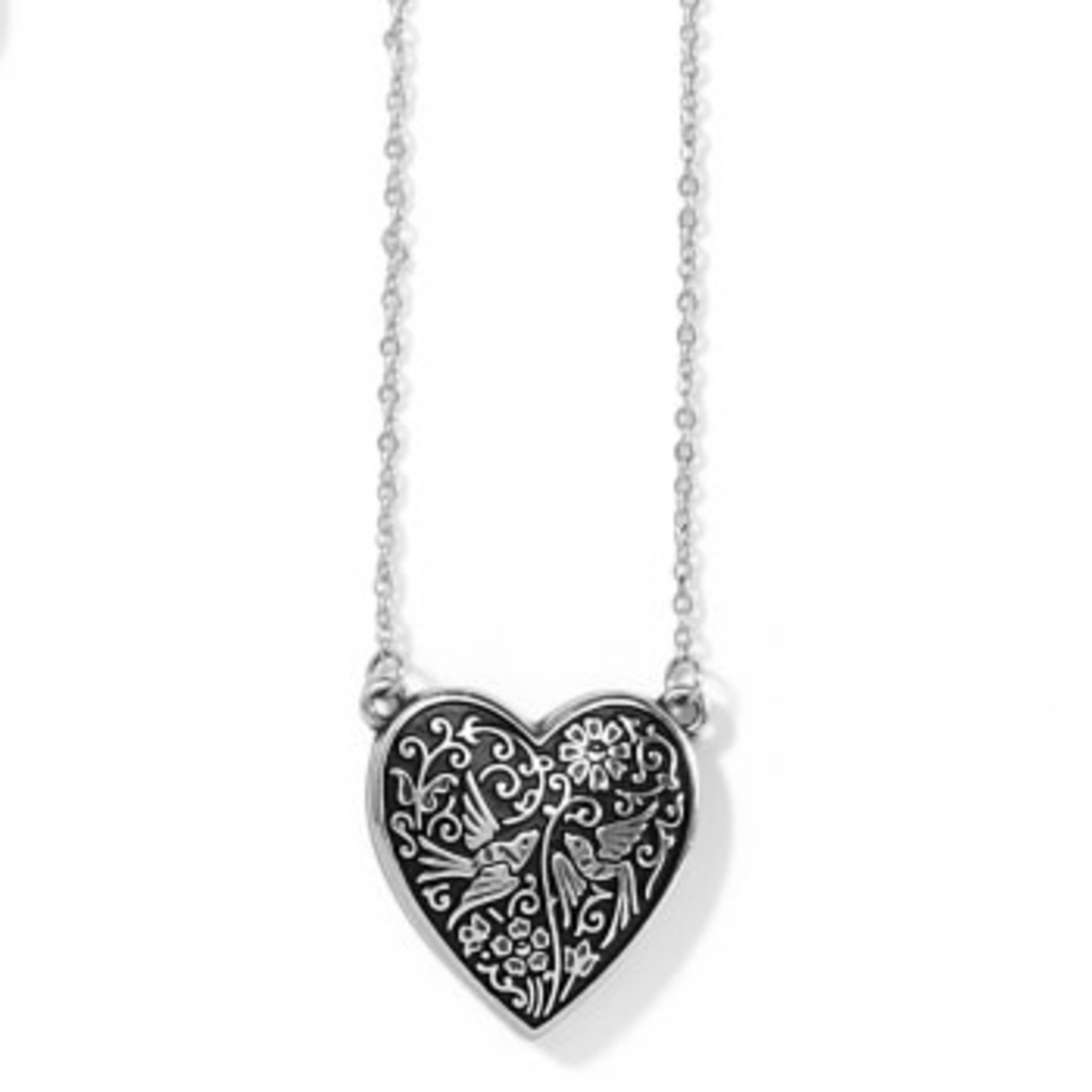 Brighton Moonlight Garden Heart Necklace Silver OS