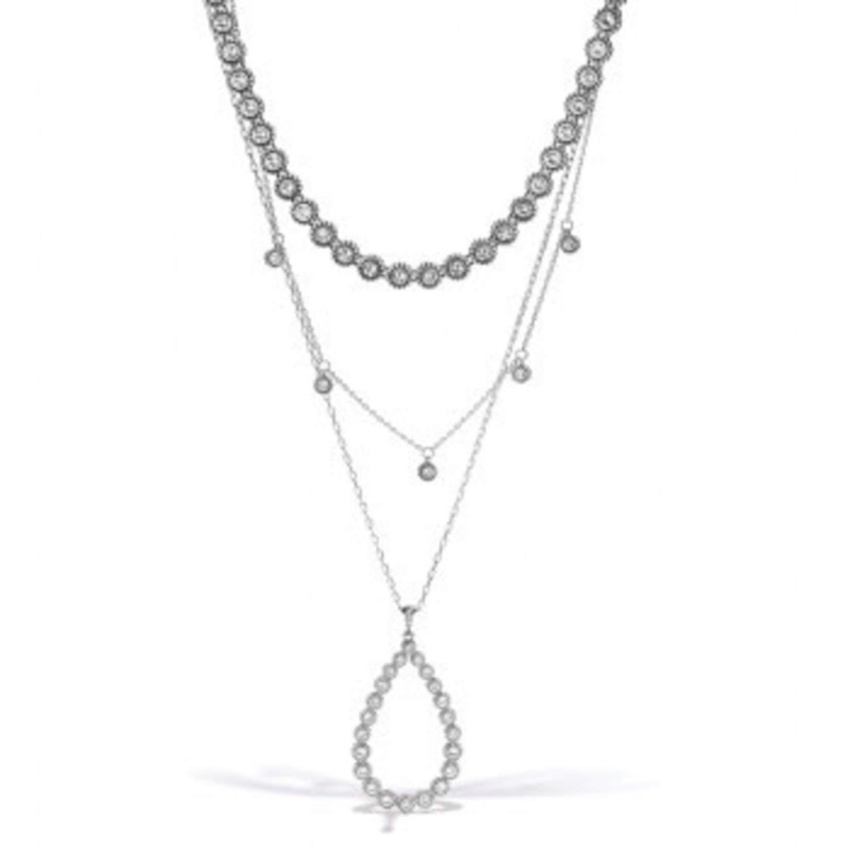 Brighton Twinkle Splendor Teardrop Necklace Silver