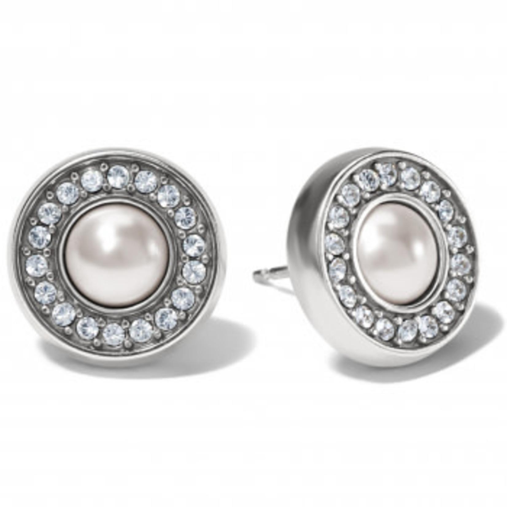 Brighton Meridian Pearl Post Earrings Silver-Pearl