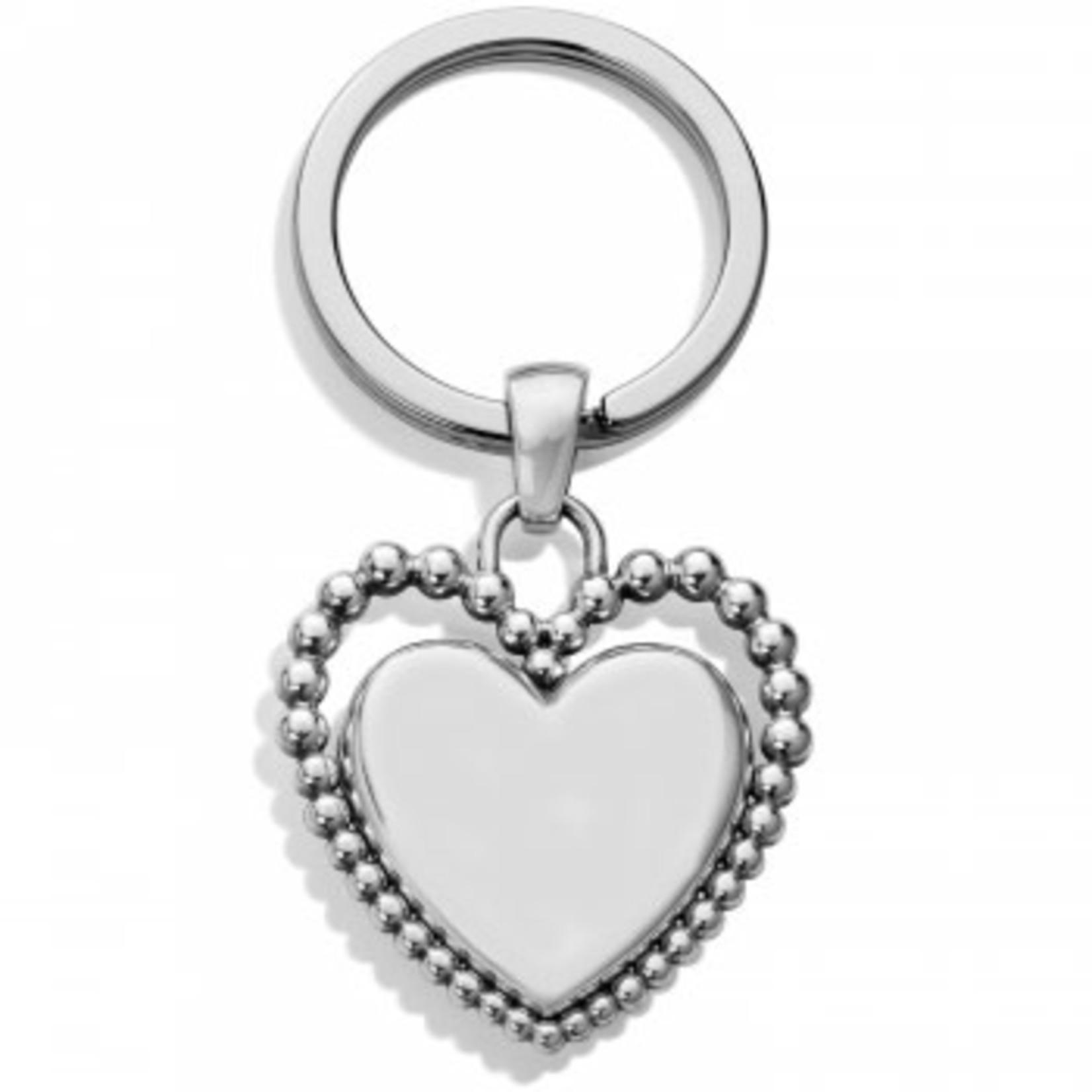 Brighton Beaded Love Key Fob Silver