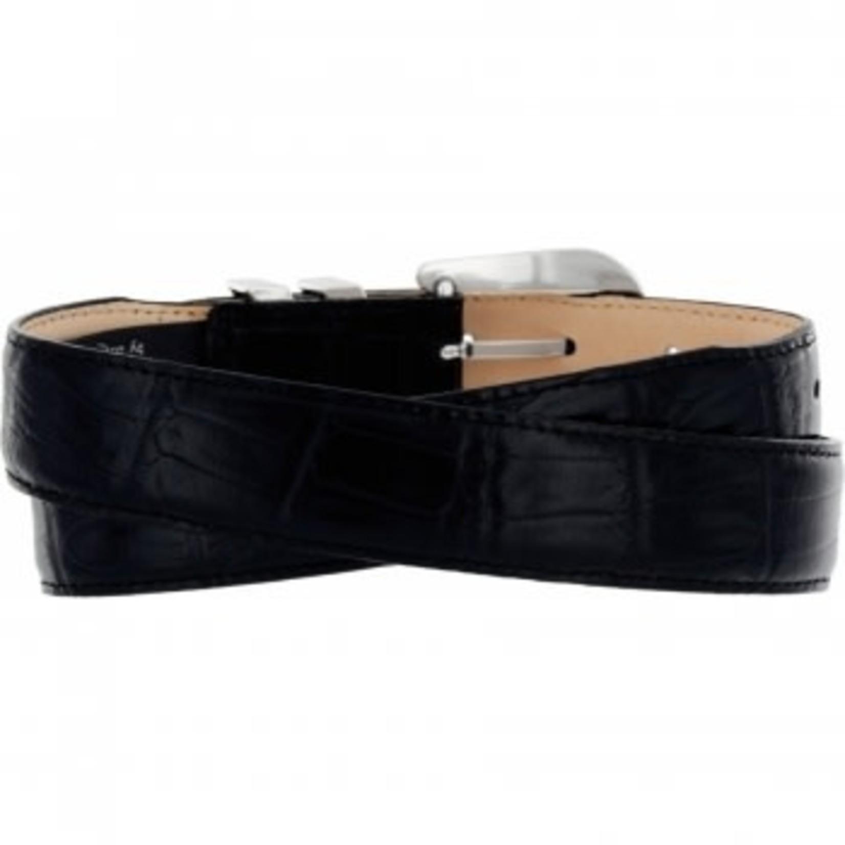 Brighton Catera Taper Crocodile Belt  in Black Size 34