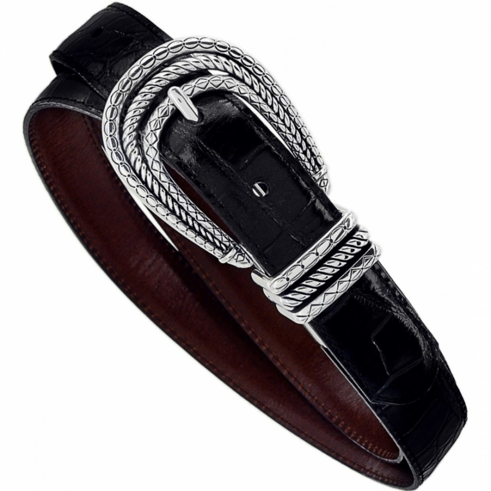 Brighton Tropic Heart Reversible Belt in Black/Brown Lg