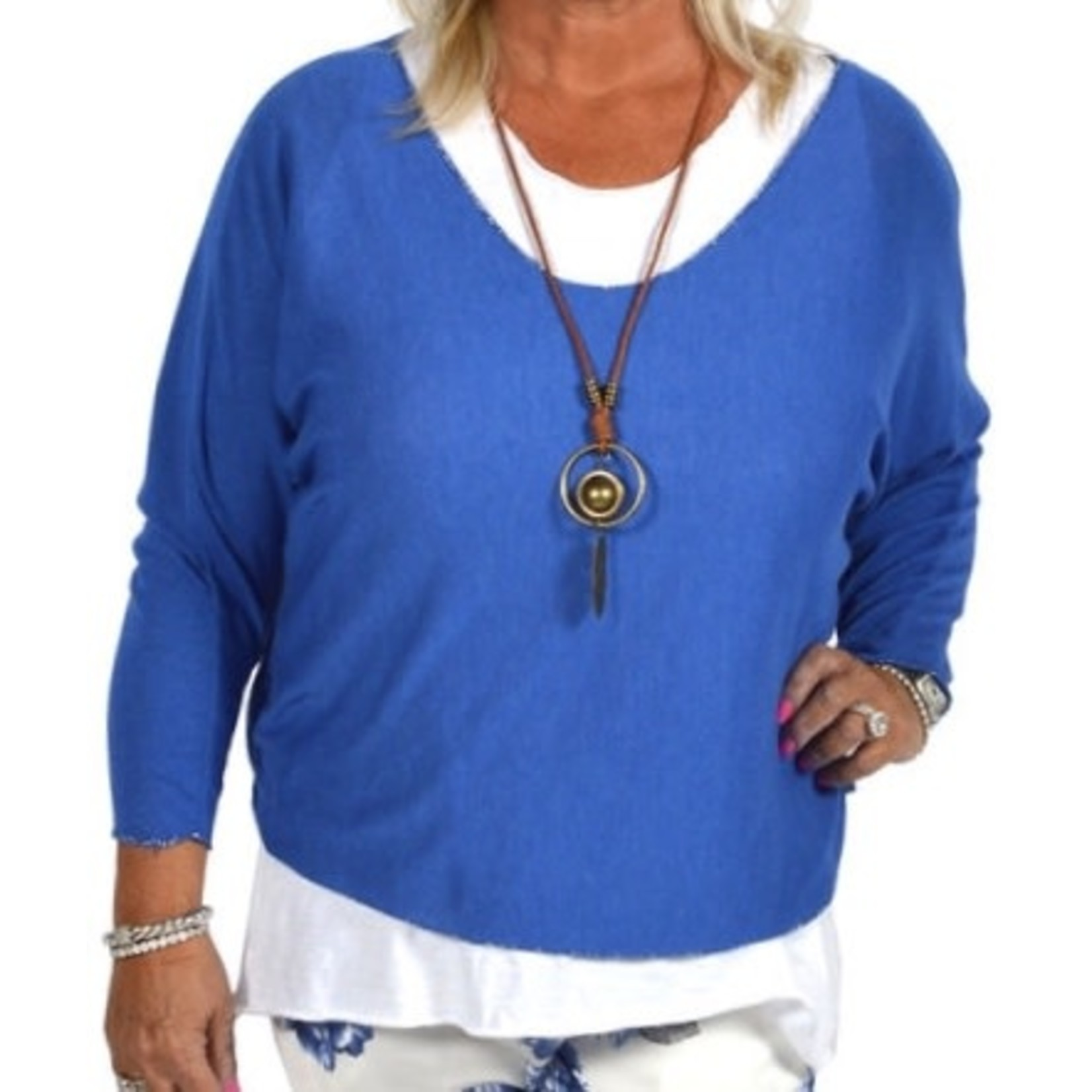 Catherine Lillywhites 2 Pc Blue and White Tunic w/ Necklace - OS